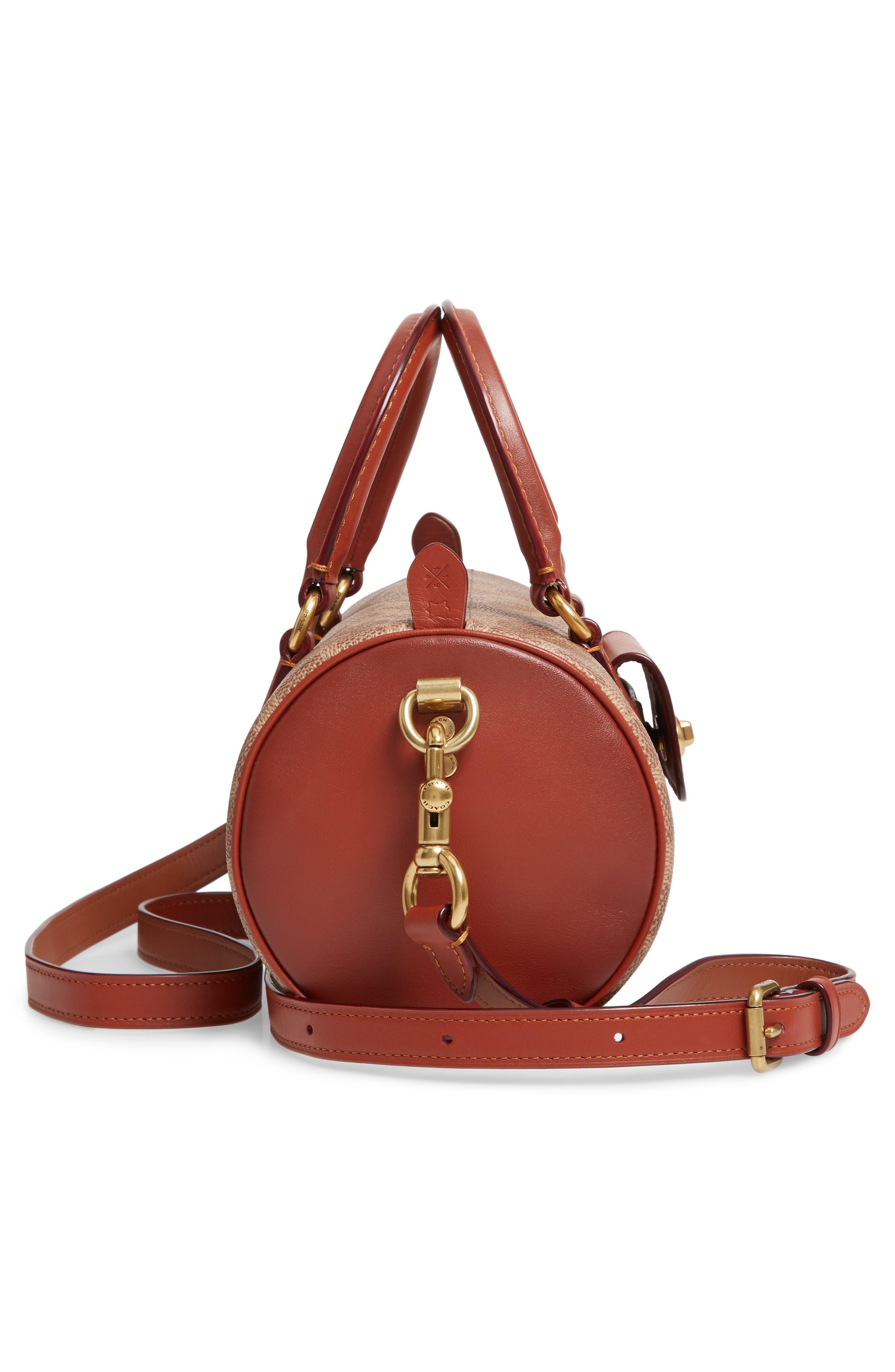 COACH, Leather Barrel Bag, Alternate thumbnail 6, color, B4/ TAN RUST