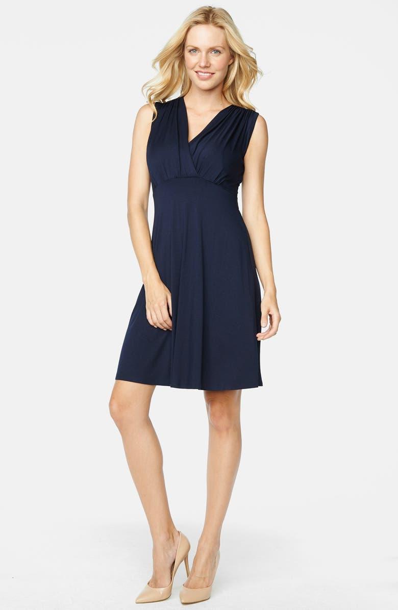 9ff2edad10c53 MATERNAL AMERICA Tummy Tuck Sleeveless Maternity/Nursing Dress, Main,  color, NAVY