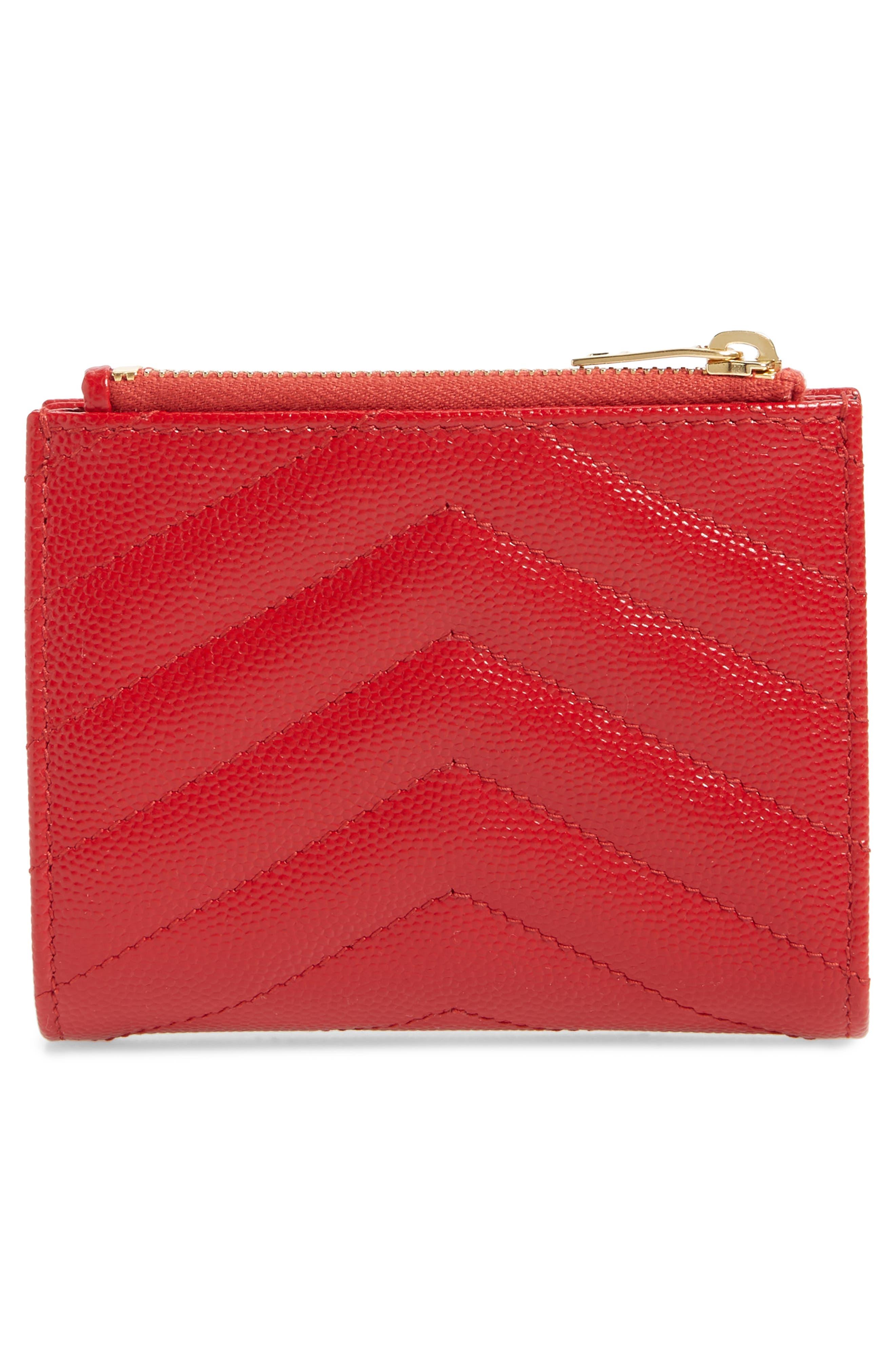 SAINT LAURENT, Monogram Leather Card Case, Alternate thumbnail 4, color, BANDANA RED