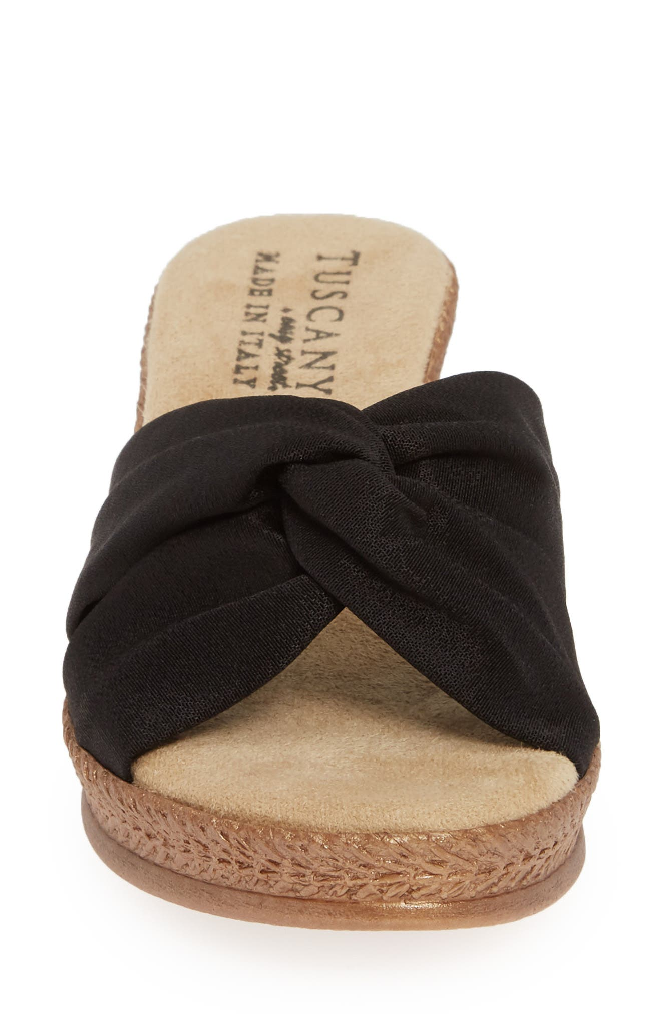 TUSCANY BY EASY STREET<SUP>®</SUP>, Dinah Platform Wedge Sandal, Alternate thumbnail 4, color, BLACK FABRIC