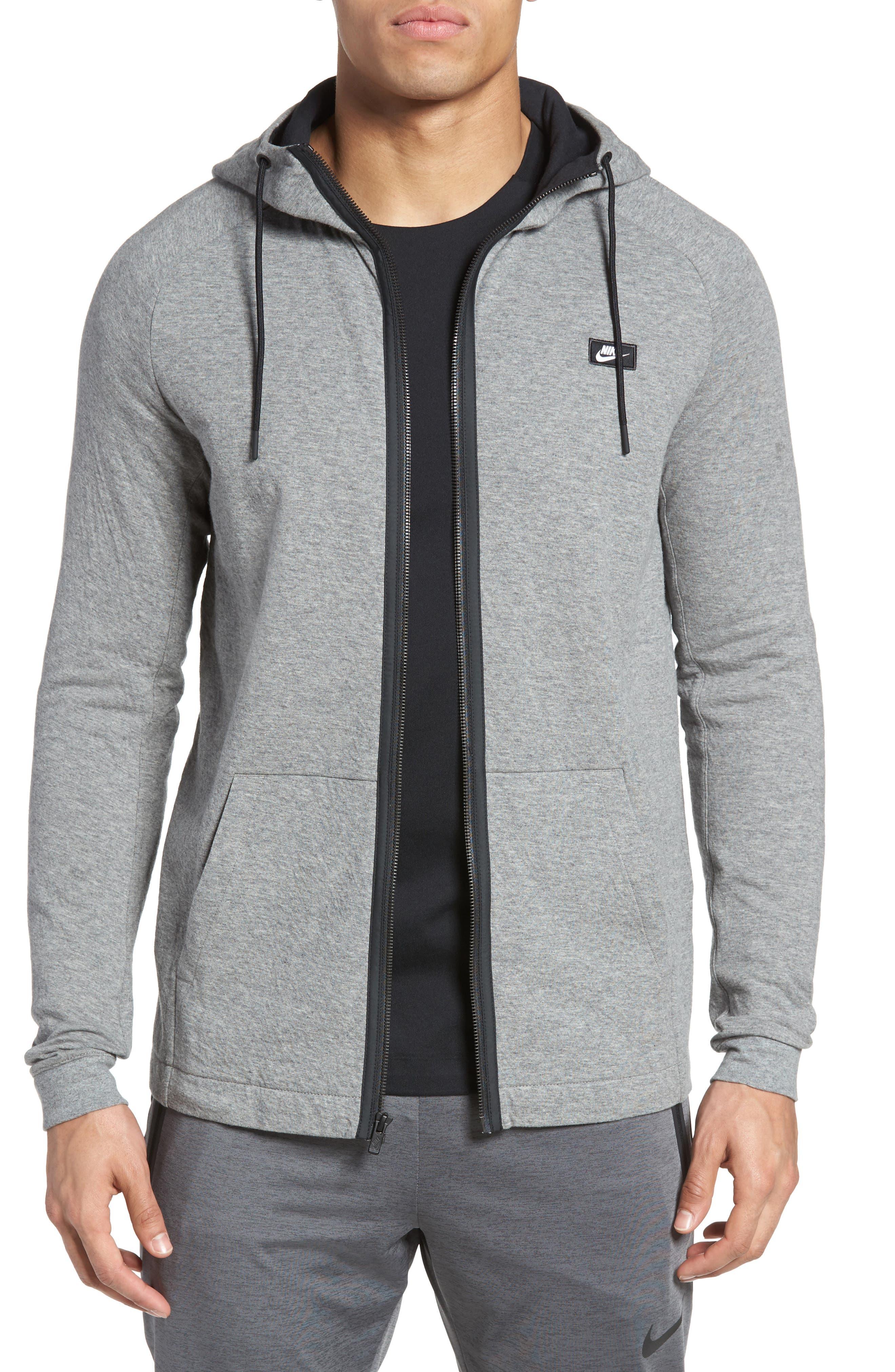 NIKE, Tech Regular Fit Fleece Hoodie, Main thumbnail 1, color, CARBON HEATHER/BLACK