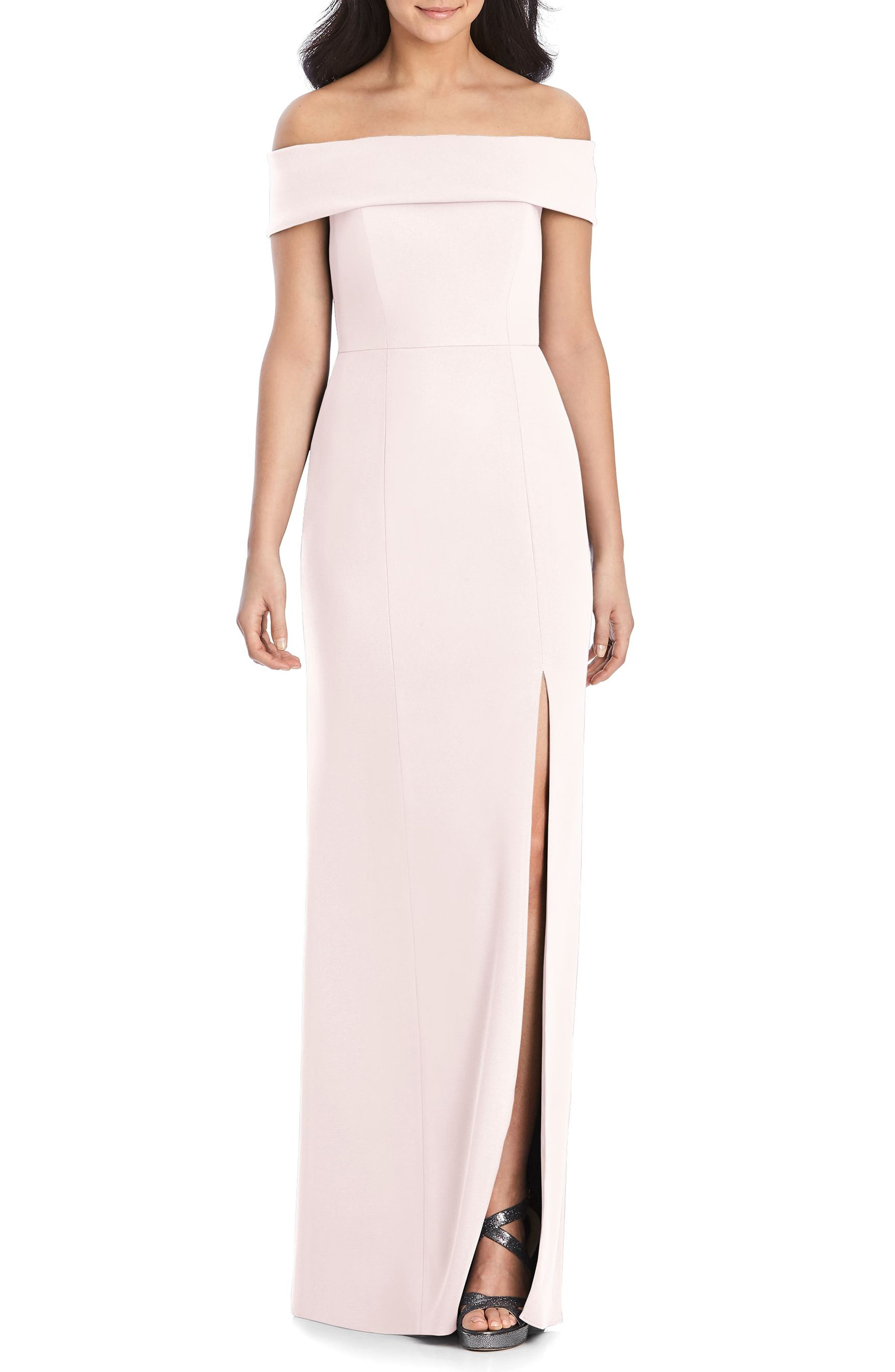 DESSY COLLECTION Off the Shoulder Side Slit Crepe Gown, Main, color, BLUSH