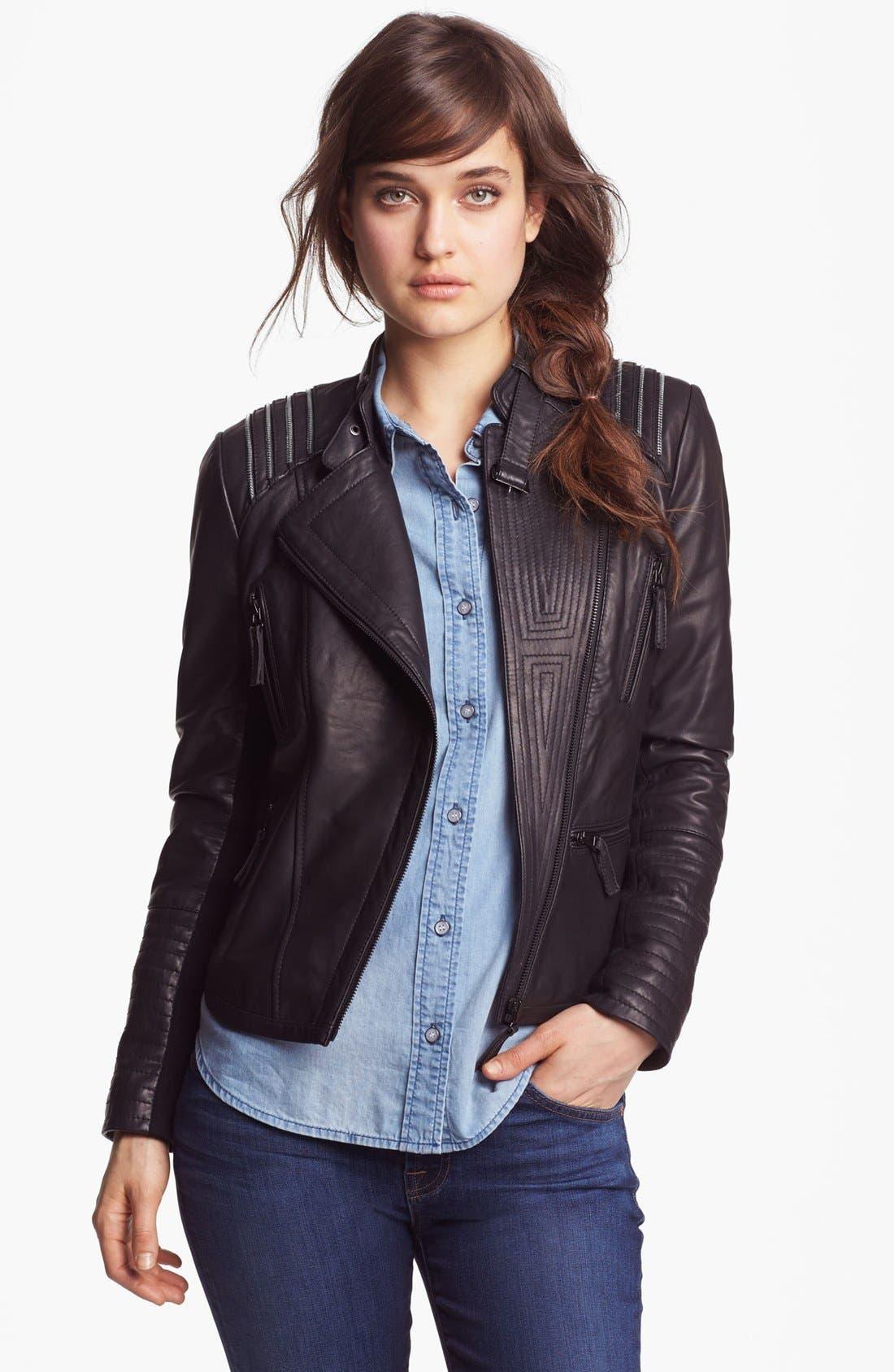 BERNARDO Asymmetrical Leather Moto Jacket, Main, color, 001