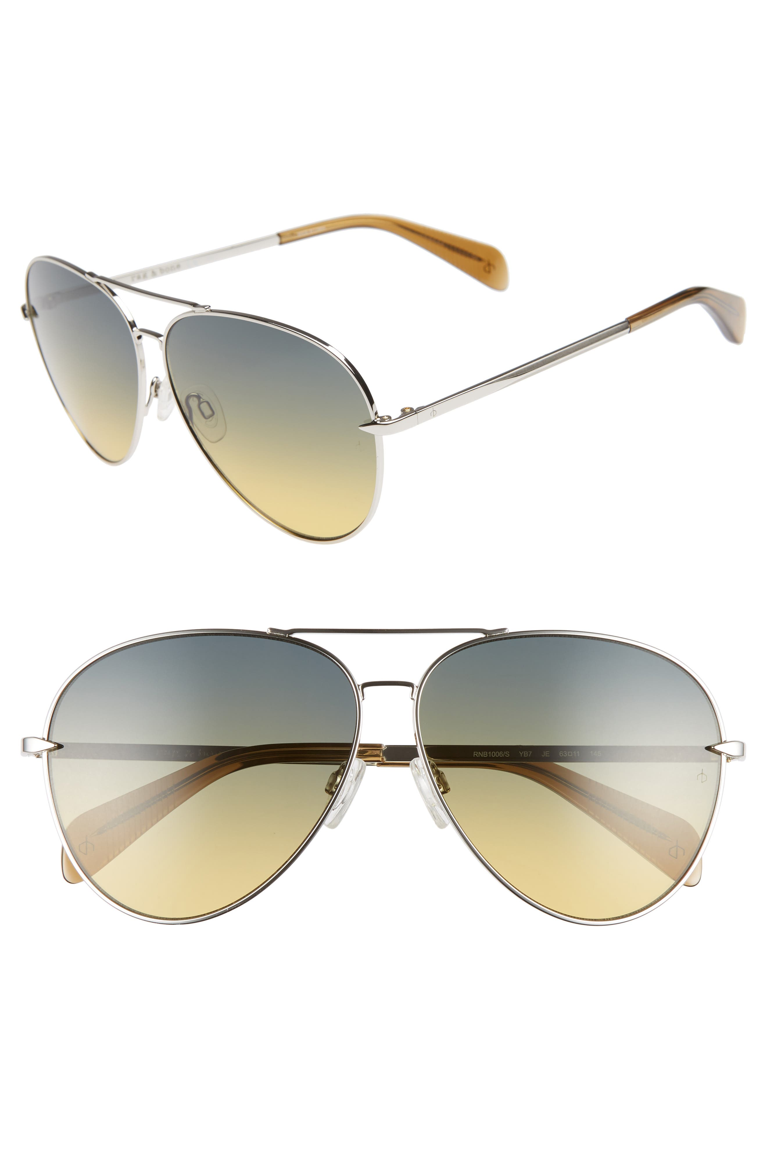 RAG & BONE 63mm Oversize Aviator Sunglasses, Main, color, SILVER