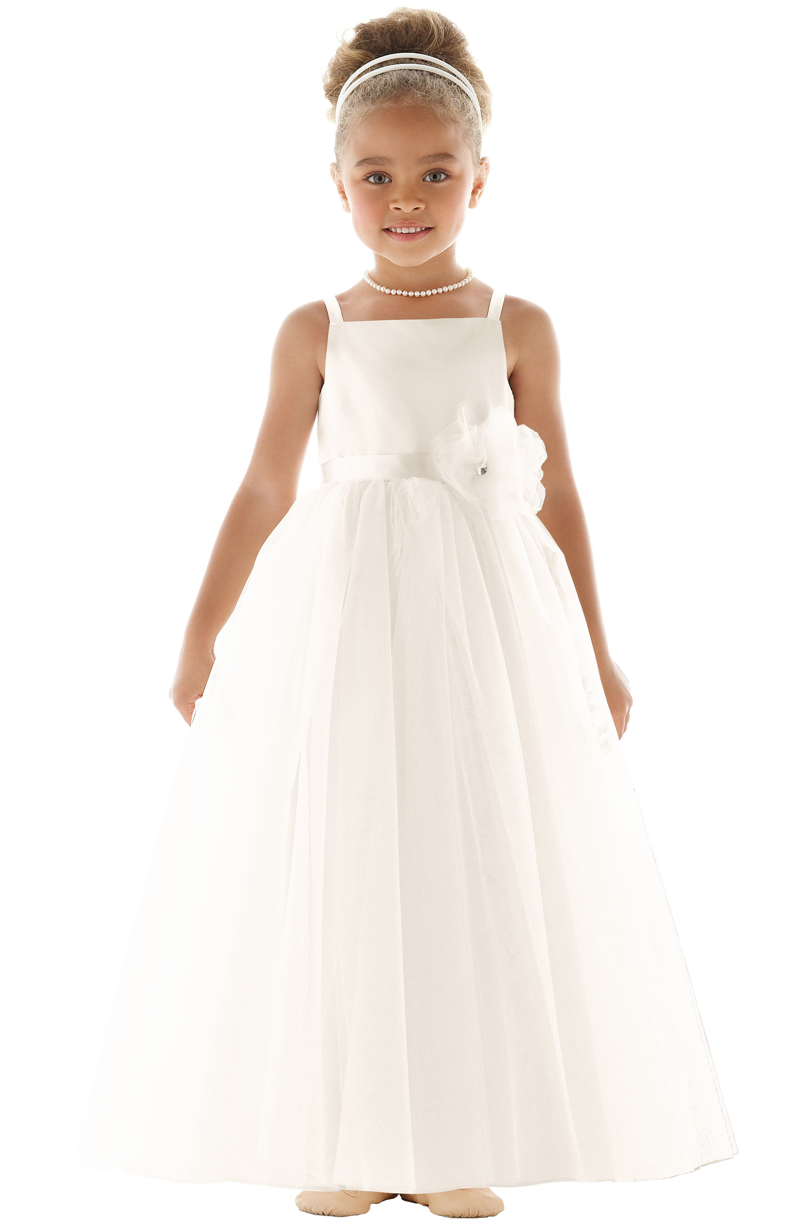 DESSY COLLECTION, Flower Girl Dress, Main thumbnail 1, color, IVORY