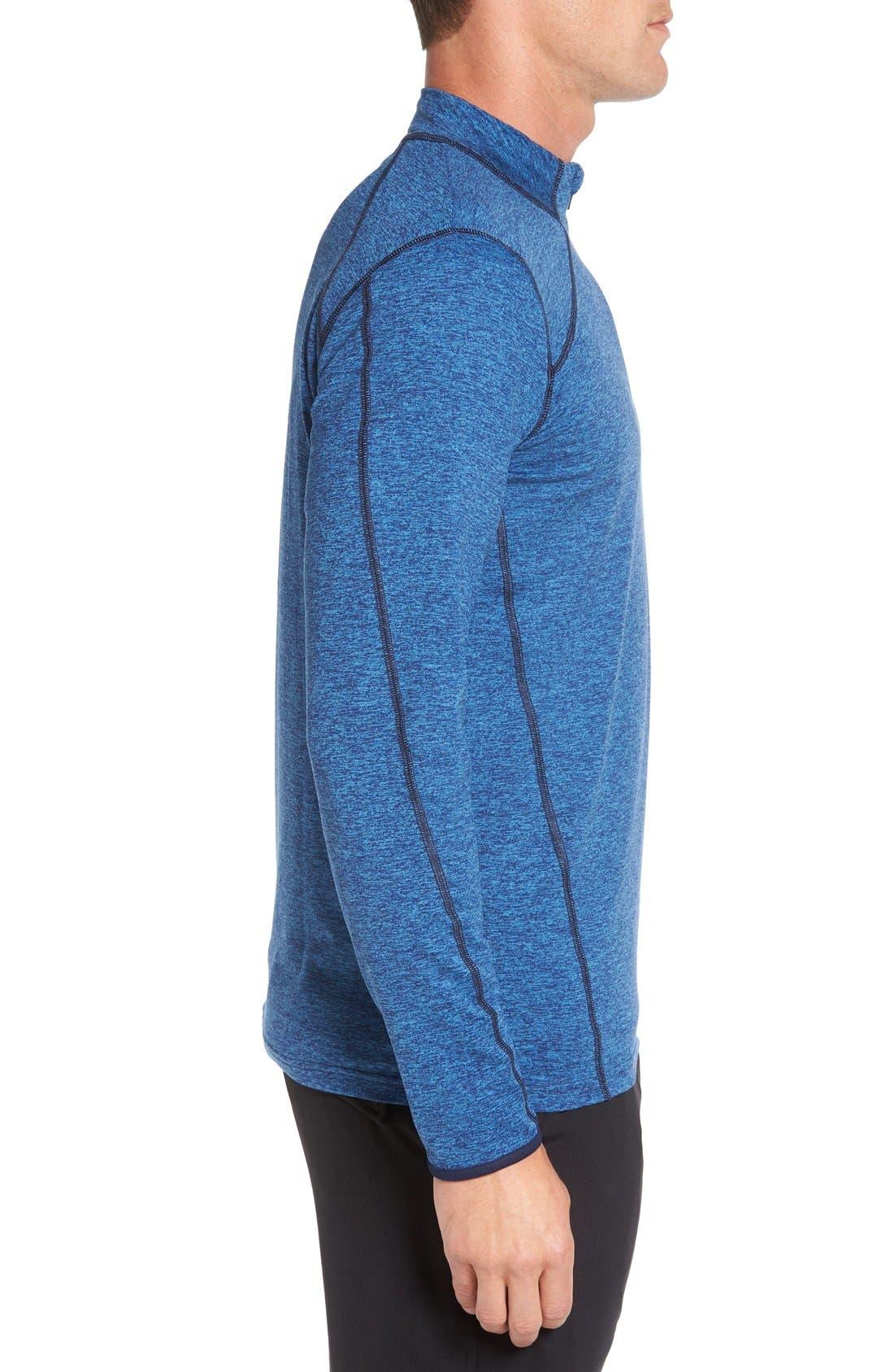 SODO, 'Elevate' Moisture Wicking Stretch Quarter Zip Pullover, Alternate thumbnail 3, color, OCEAN BLUE/ NAVY