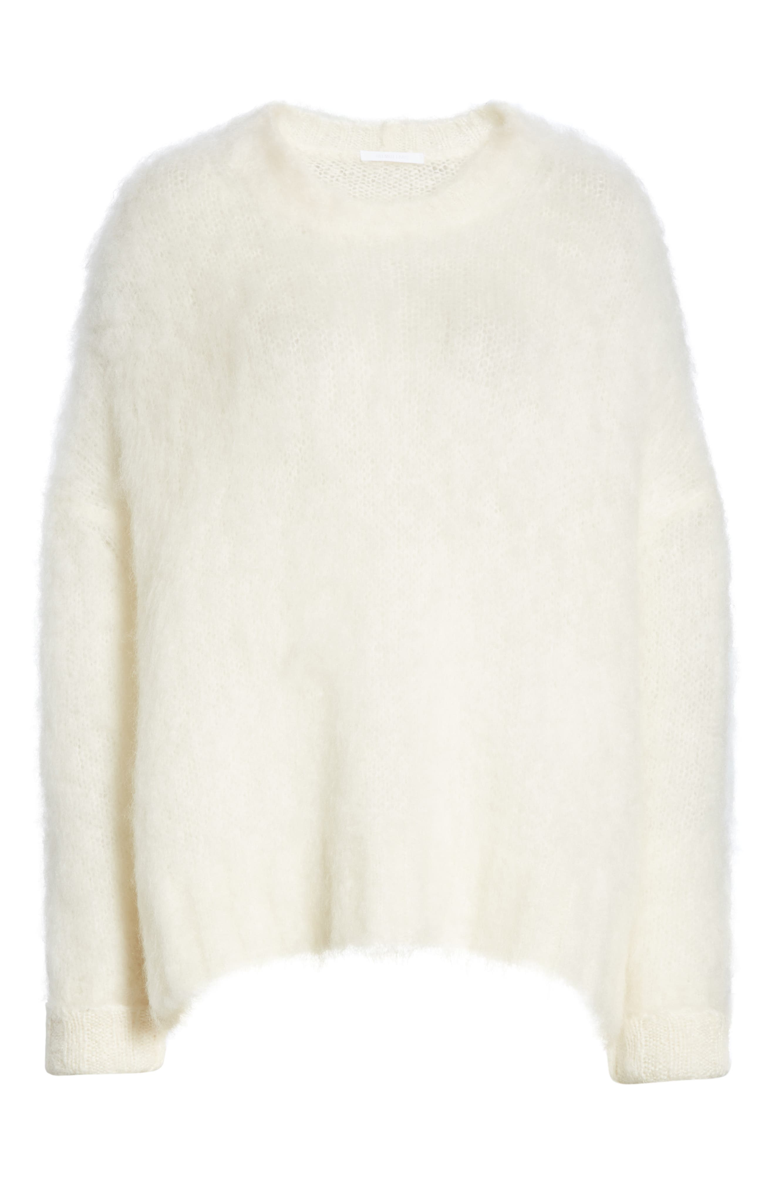 HELMUT LANG, Mohair Blend Sweater, Alternate thumbnail 6, color, NATURAL WHITE