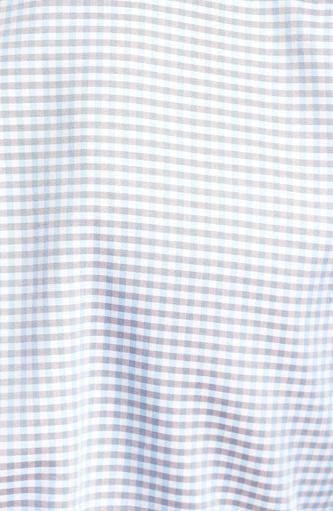 PETER MILLAR, Crown Regular Fit Mini Check Sport Shirt, Alternate thumbnail 5, color, TAR HEEL BLUE
