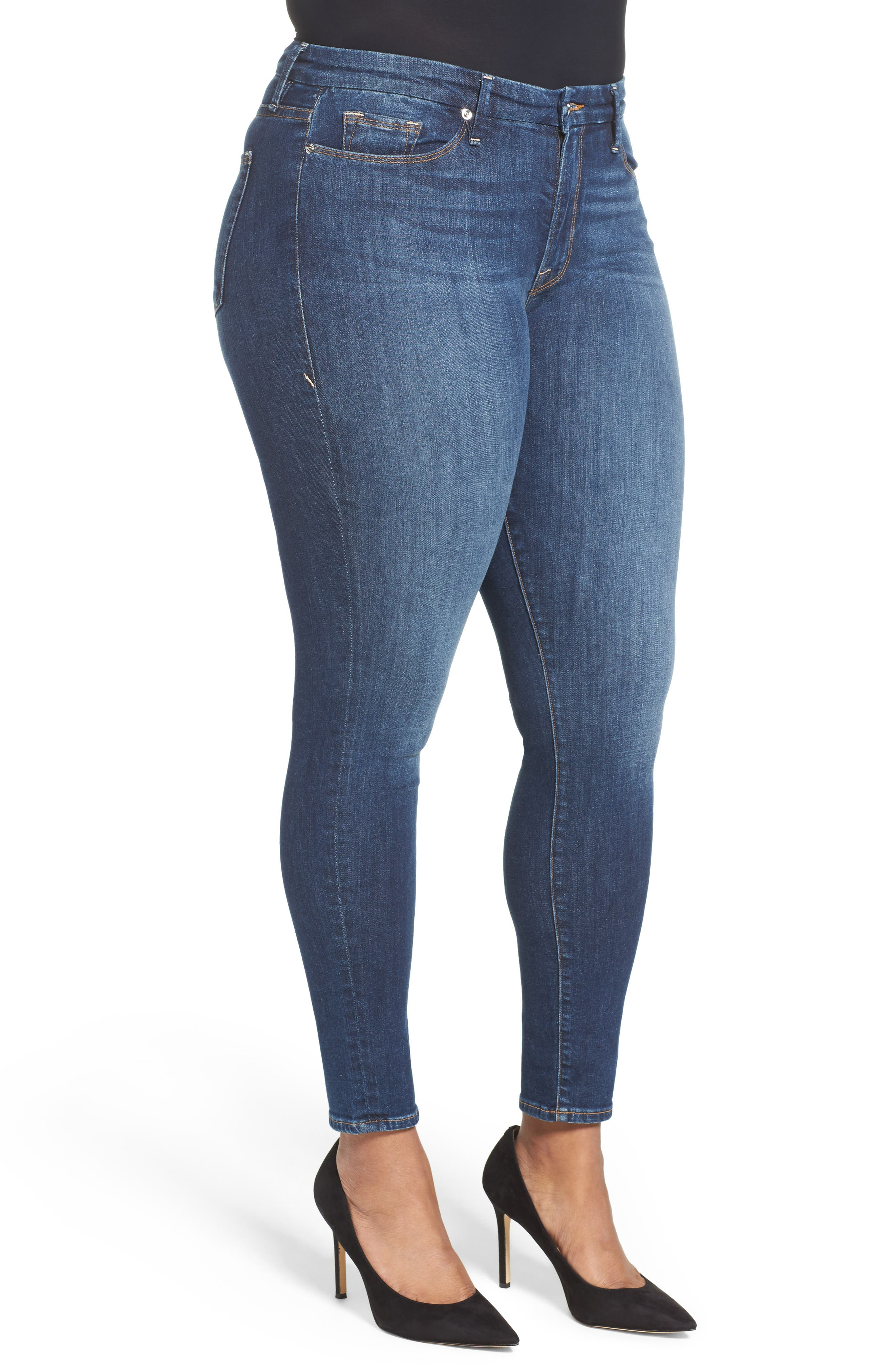 GOOD AMERICAN, Good Legs High Rise Skinny Jeans, Alternate thumbnail 8, color, BLUE 004