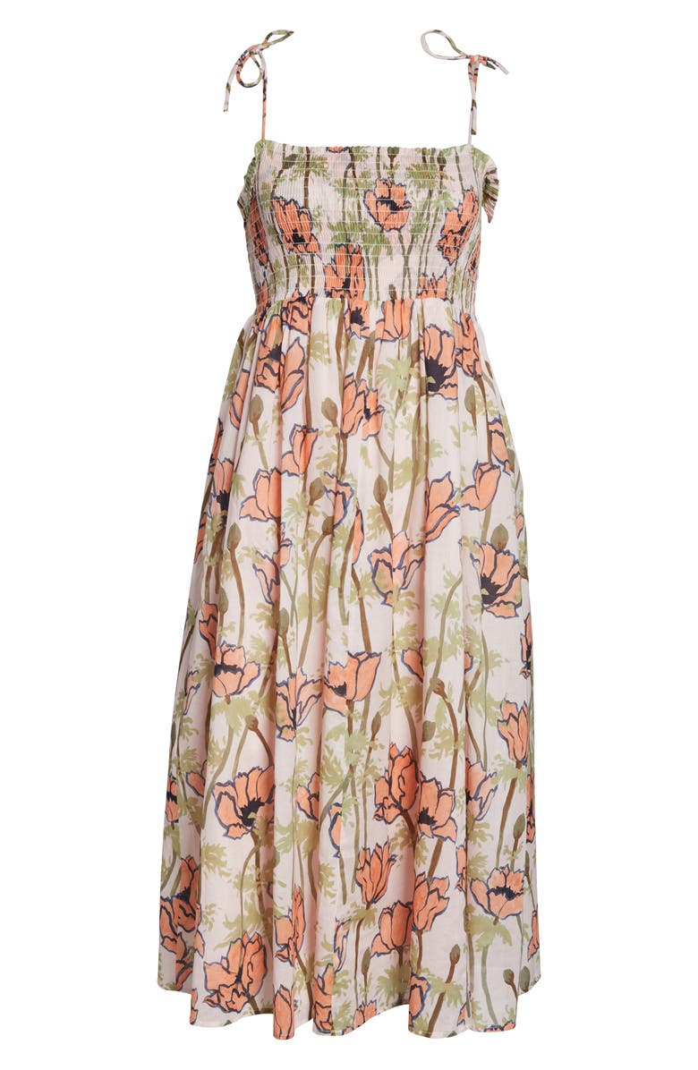 0519430bb5 Tory Burch Painted Iris Floral-Print Sleeveless Midi Coverup Sun Dress In  Pink Poppies Bloom