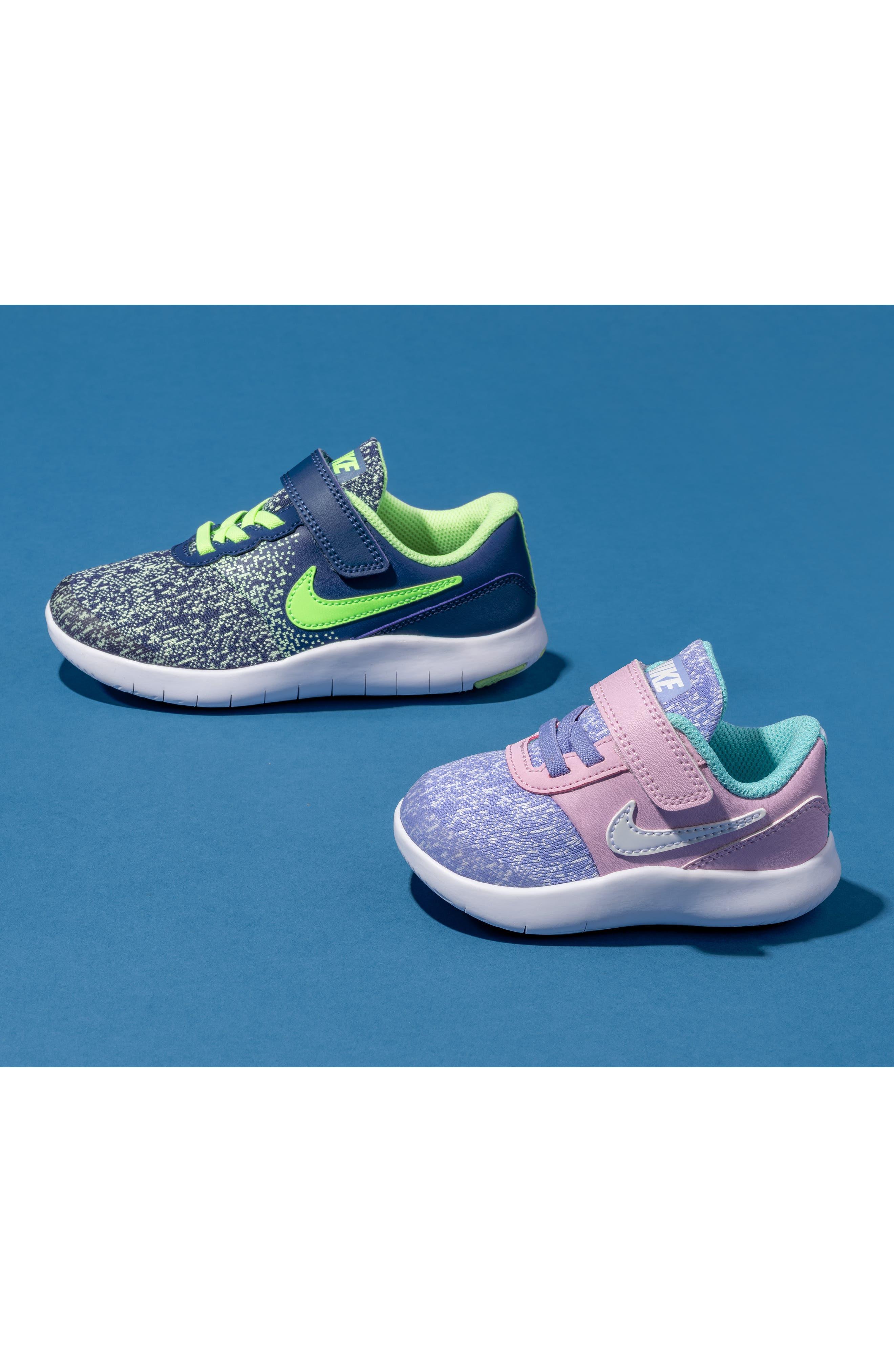 NIKE, Flex Contact Running Shoe, Alternate thumbnail 7, color, TWILIGHT PULSE WHITE AQUA
