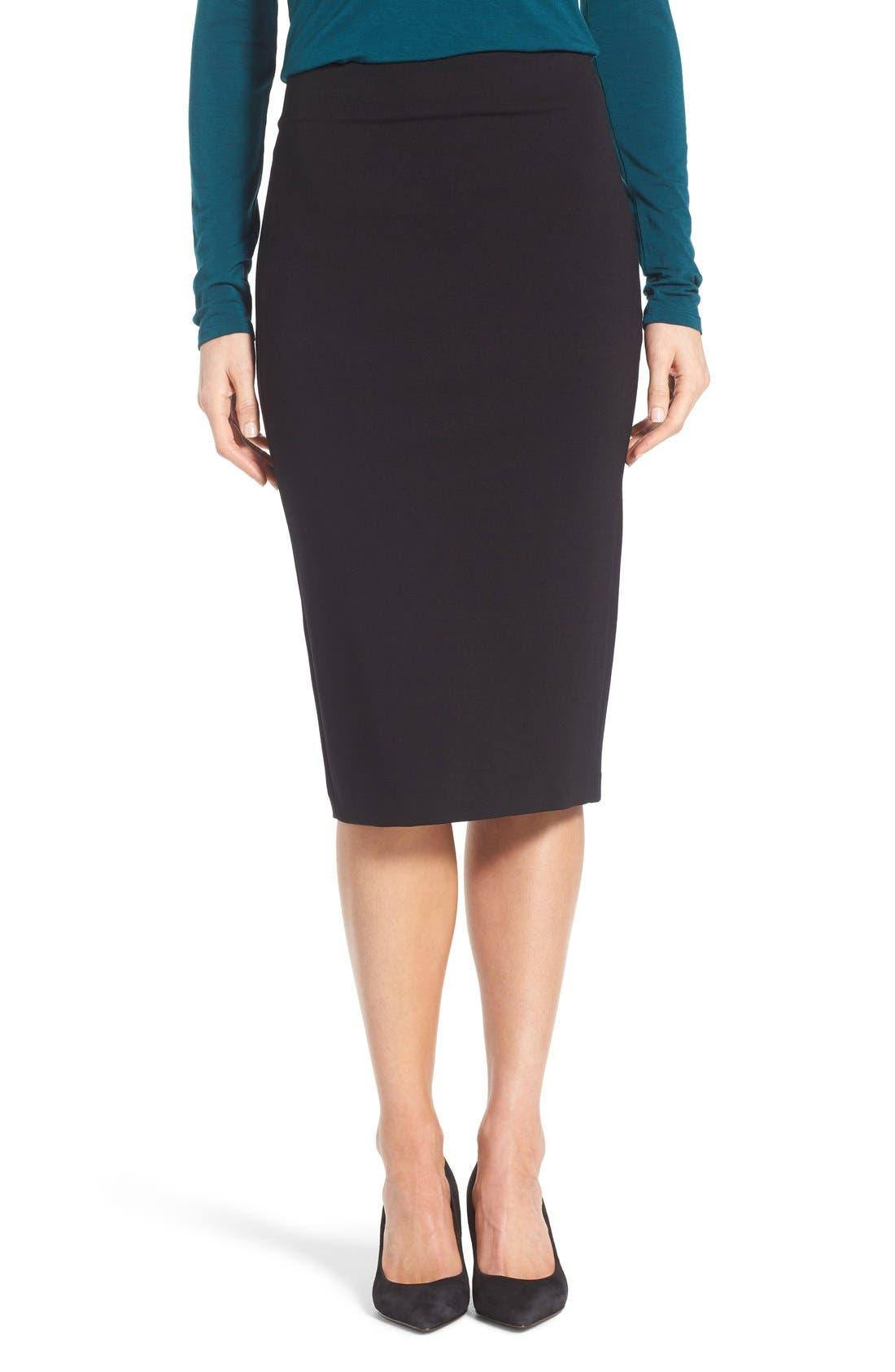 VINCE CAMUTO Ponte Midi Skirt, Main, color, RICH BLACK