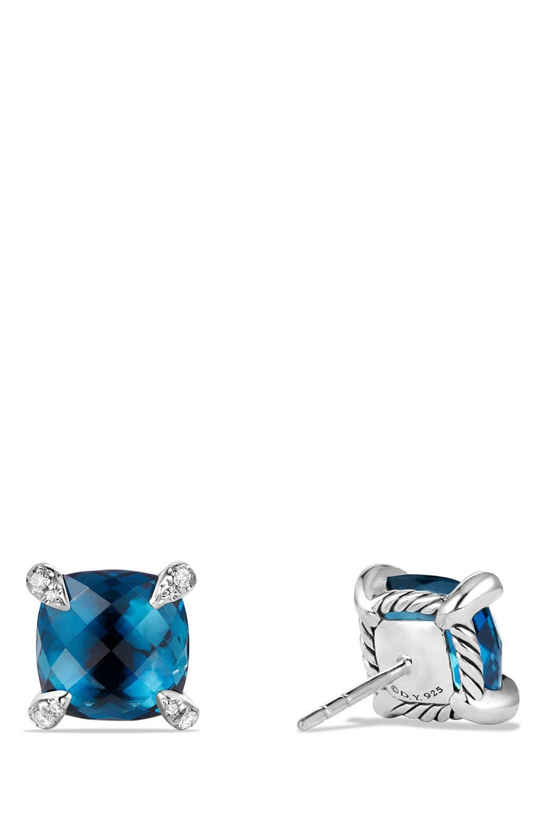 DAVID YURMAN, 'Châtelaine' Earrings with Semiprecious Stones and Diamonds, Alternate thumbnail 2, color, SILVER/ HAMPTON BLUE TOPAZ