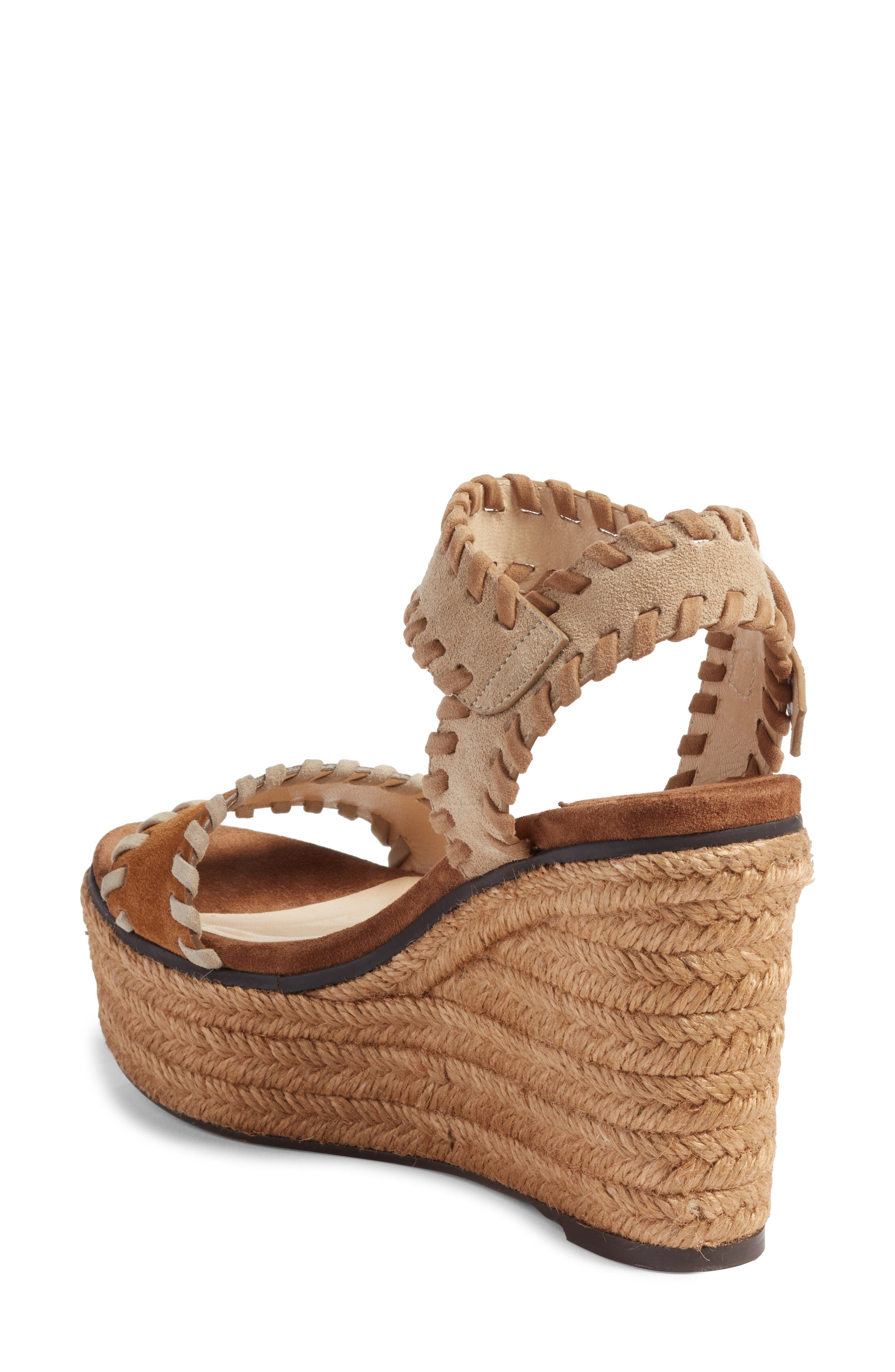 JIMMY CHOO, Abigail Whipstitch Wedge, Alternate thumbnail 2, color, NATURAL/ BROWN