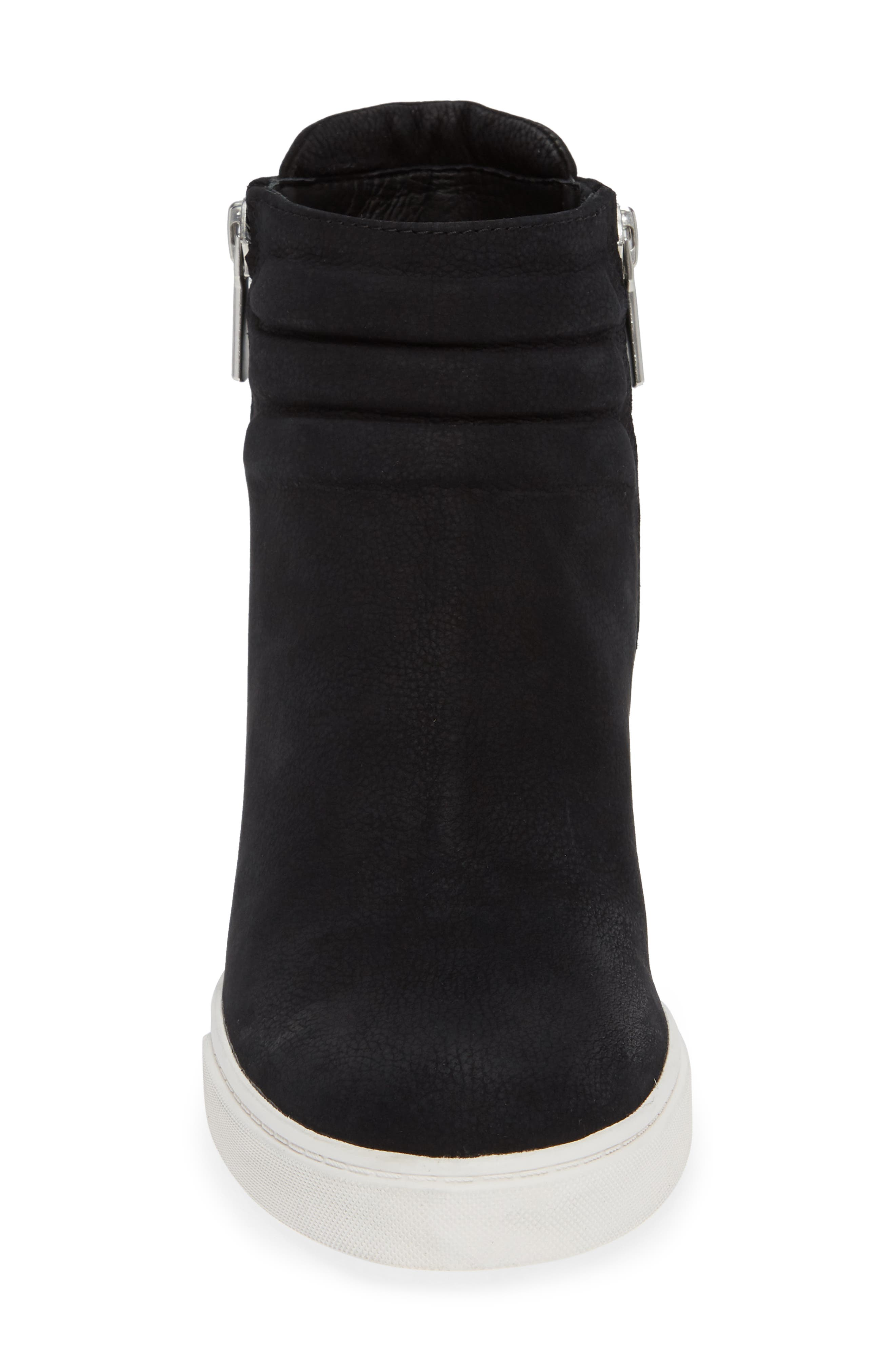 LINEA PAOLO, Flo Waterproof Wedge Bootie, Alternate thumbnail 4, color, BLACK LEATHER