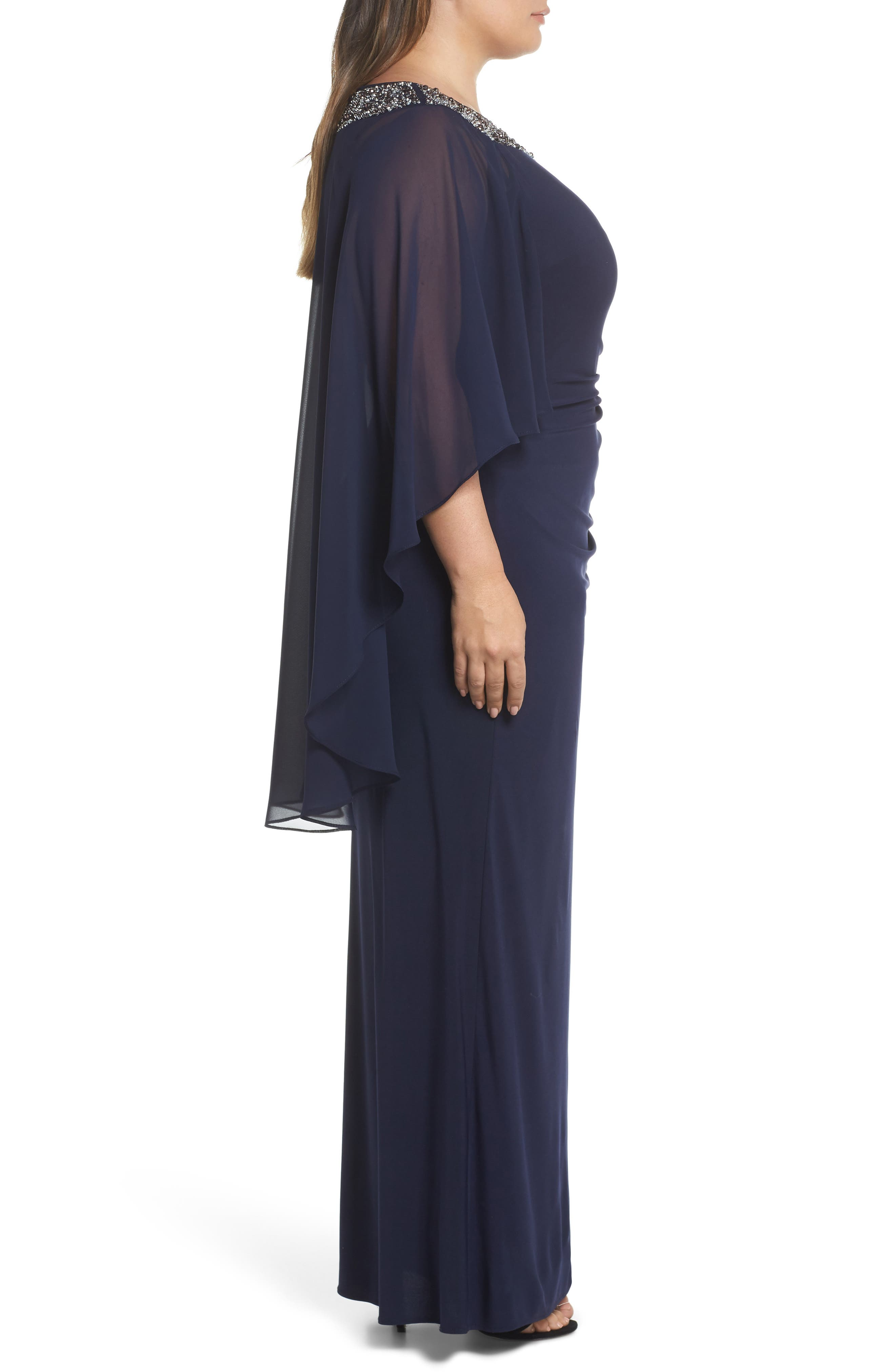XSCAPE, Chiffon Cape Sleeve Beaded Neckline Gown, Alternate thumbnail 4, color, NAVY/ SILVER