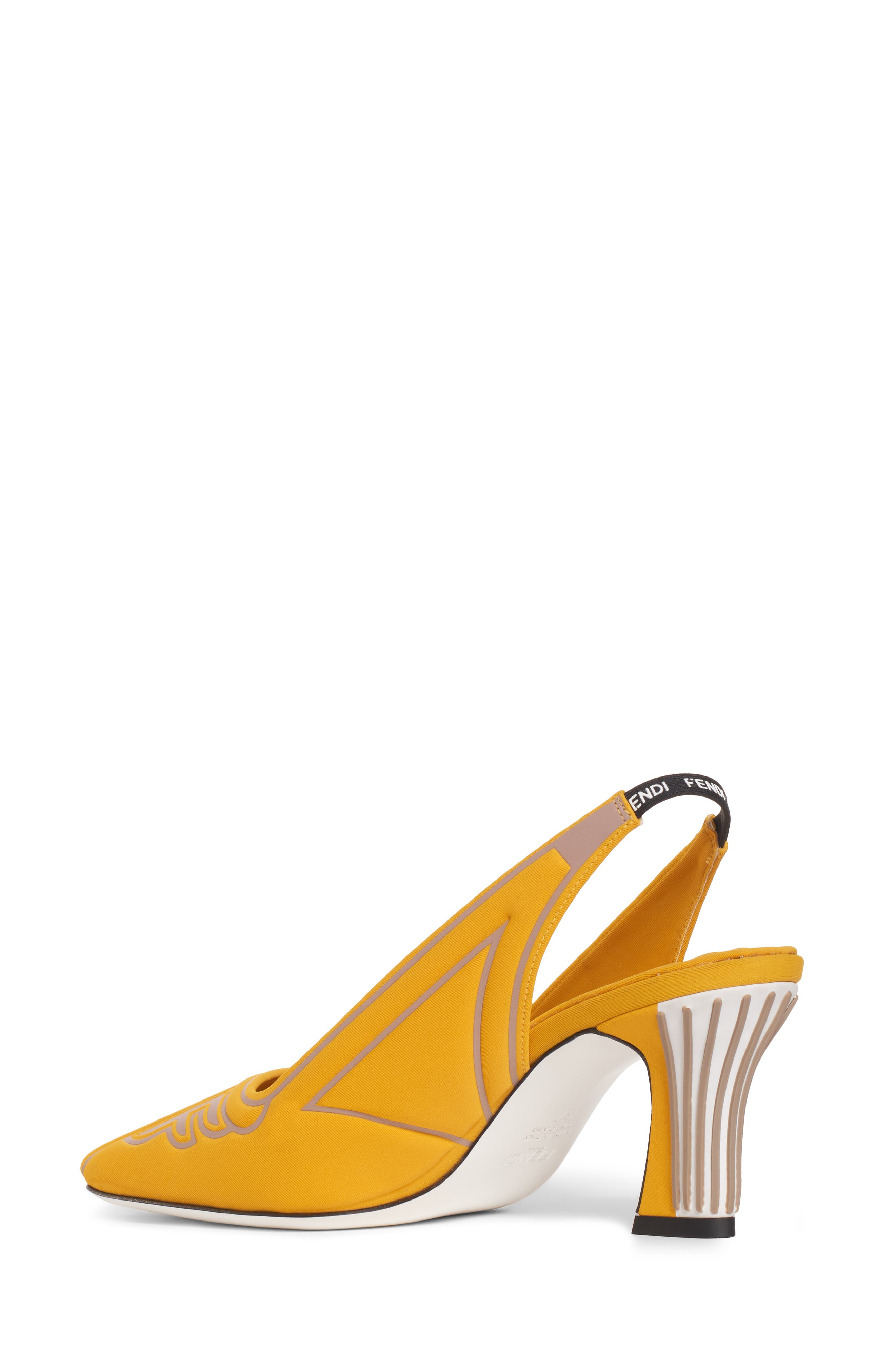 FENDI, FFreedom Logo Slingback Pump, Alternate thumbnail 2, color, YELLOW