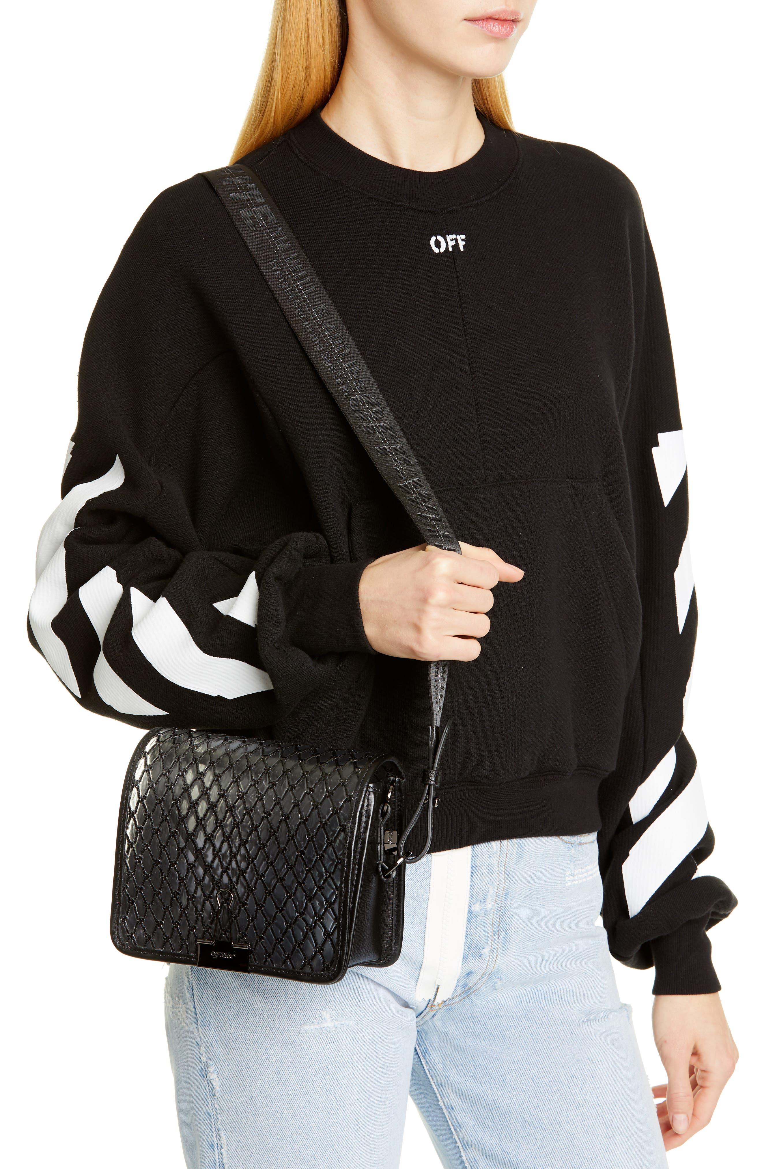 OFF-WHITE, Net PVC Flap Bag, Alternate thumbnail 2, color, BLACK