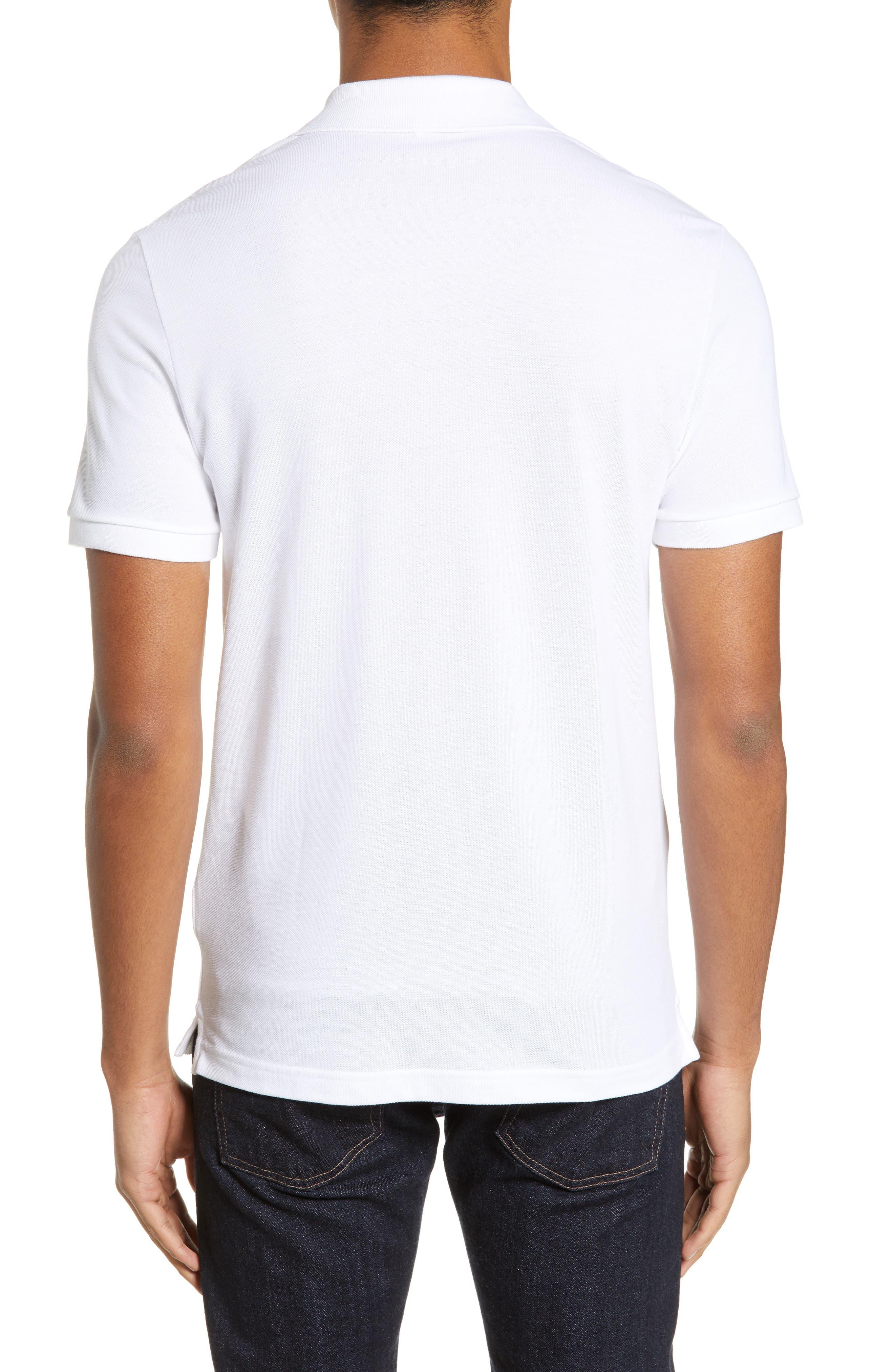 LACOSTE, Slim Fit Piqué Polo, Alternate thumbnail 2, color, WHITE