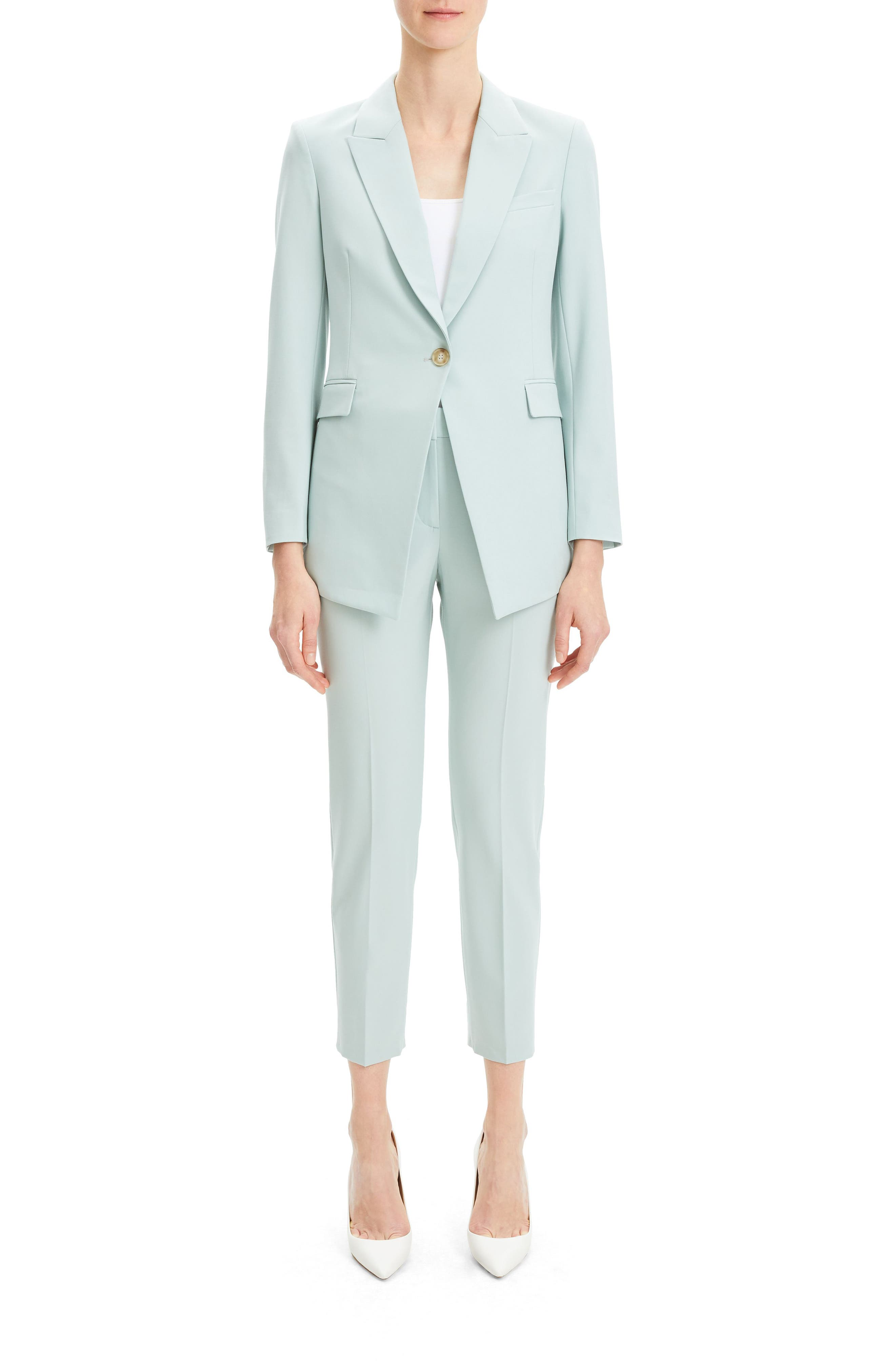 THEORY, Etienette B Good Wool Suit Jacket, Alternate thumbnail 5, color, OPAL GREEN