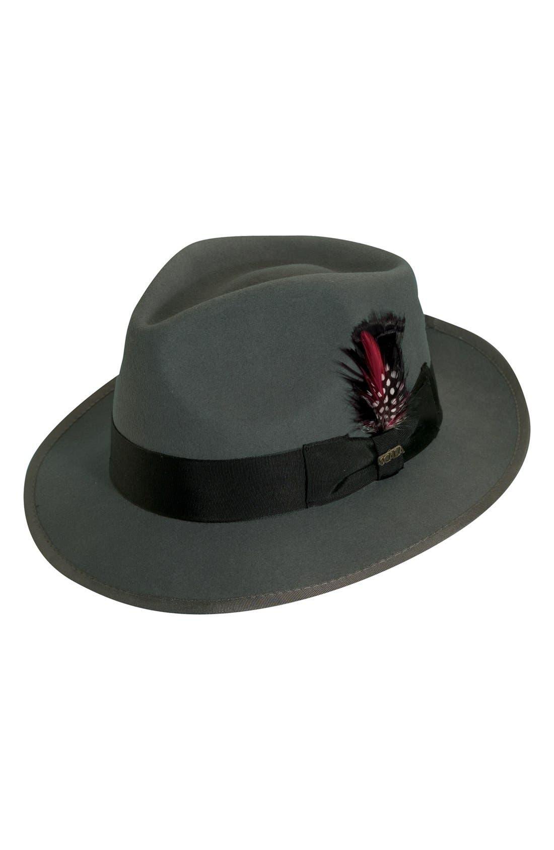 SCALA, 'Classico' Wool Felt Snap Brim Hat, Main thumbnail 1, color, GREY