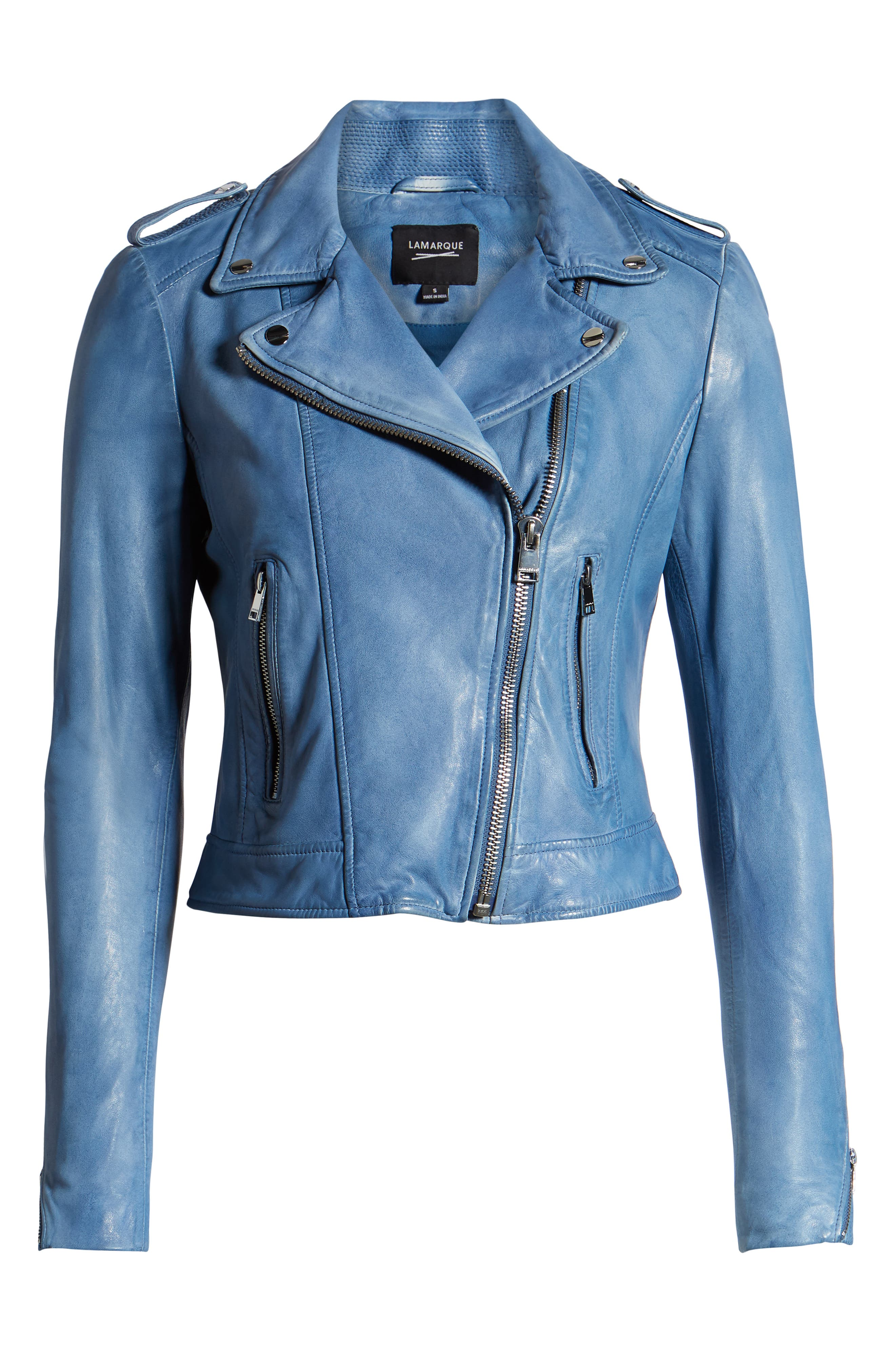 LAMARQUE, Donna Lambskin Leather Moto Jacket, Alternate thumbnail 6, color, FADED DENIM