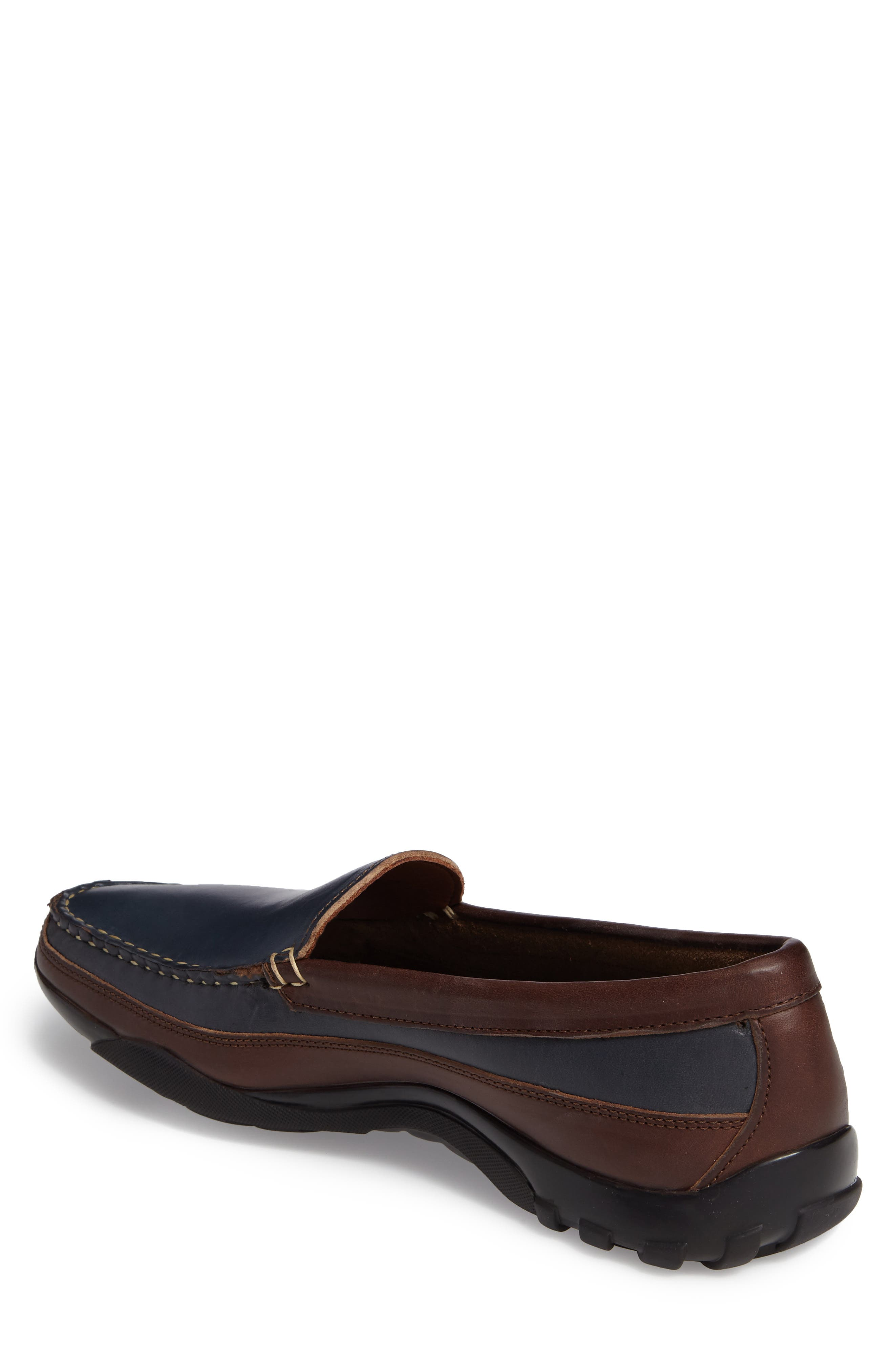 ALLEN EDMONDS, 'Boulder' Driving Loafer, Alternate thumbnail 2, color, NAVY/ BROWN