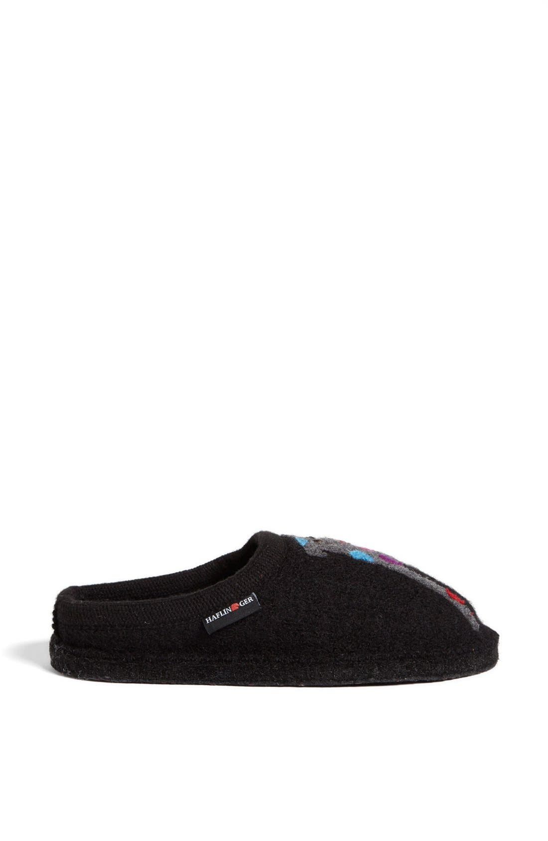 HAFLINGER, 'Dog' Slipper, Alternate thumbnail 7, color, BLACK WOOL