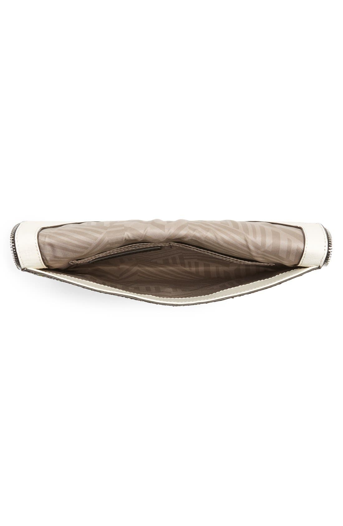 REBECCA MINKOFF, 'Leo' Envelope Clutch, Alternate thumbnail 4, color, SILVER/ SILVER HRDWR