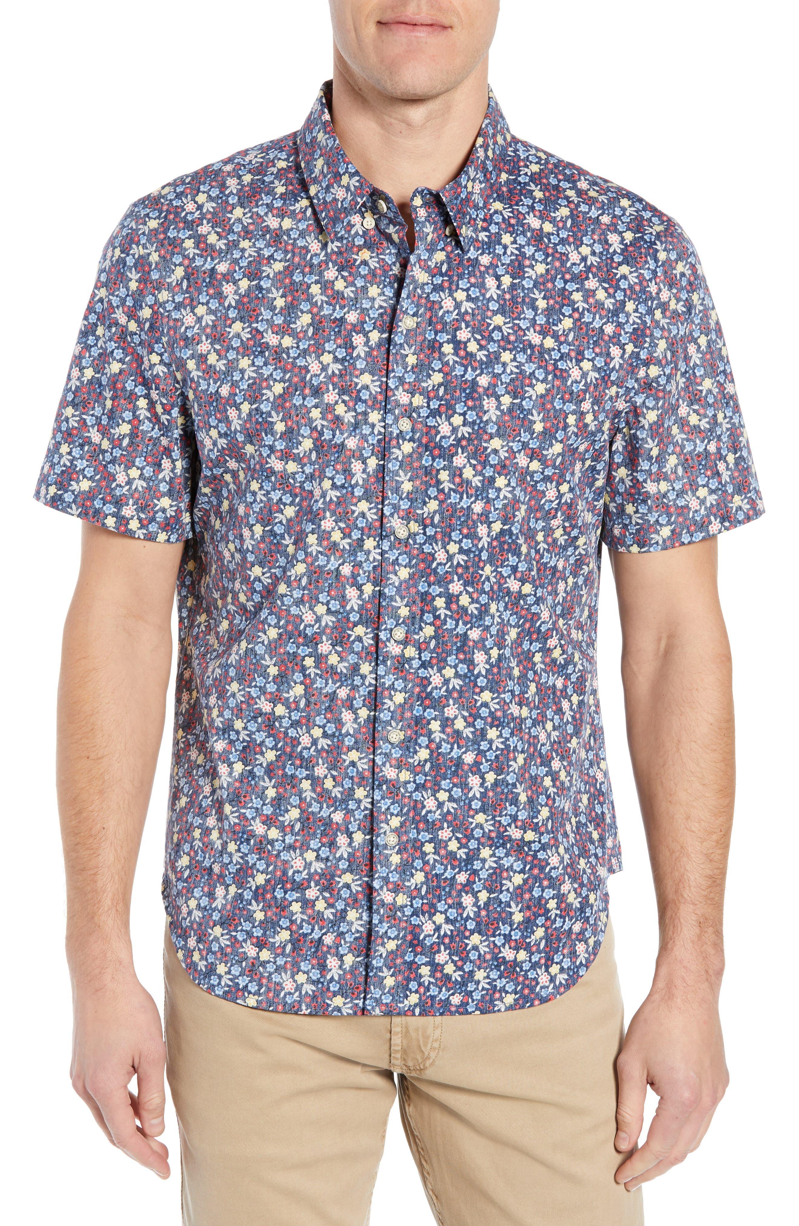 REYN SPOONER, Retro Tailored Fit Sport Shirt, Main thumbnail 1, color, MEDIEVAL BLUE
