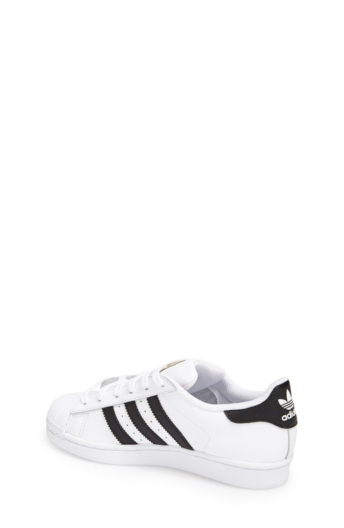 ADIDAS, 'Superstar II' Sneaker, Alternate thumbnail 5, color, WHITE/ BLACK/ WHITE