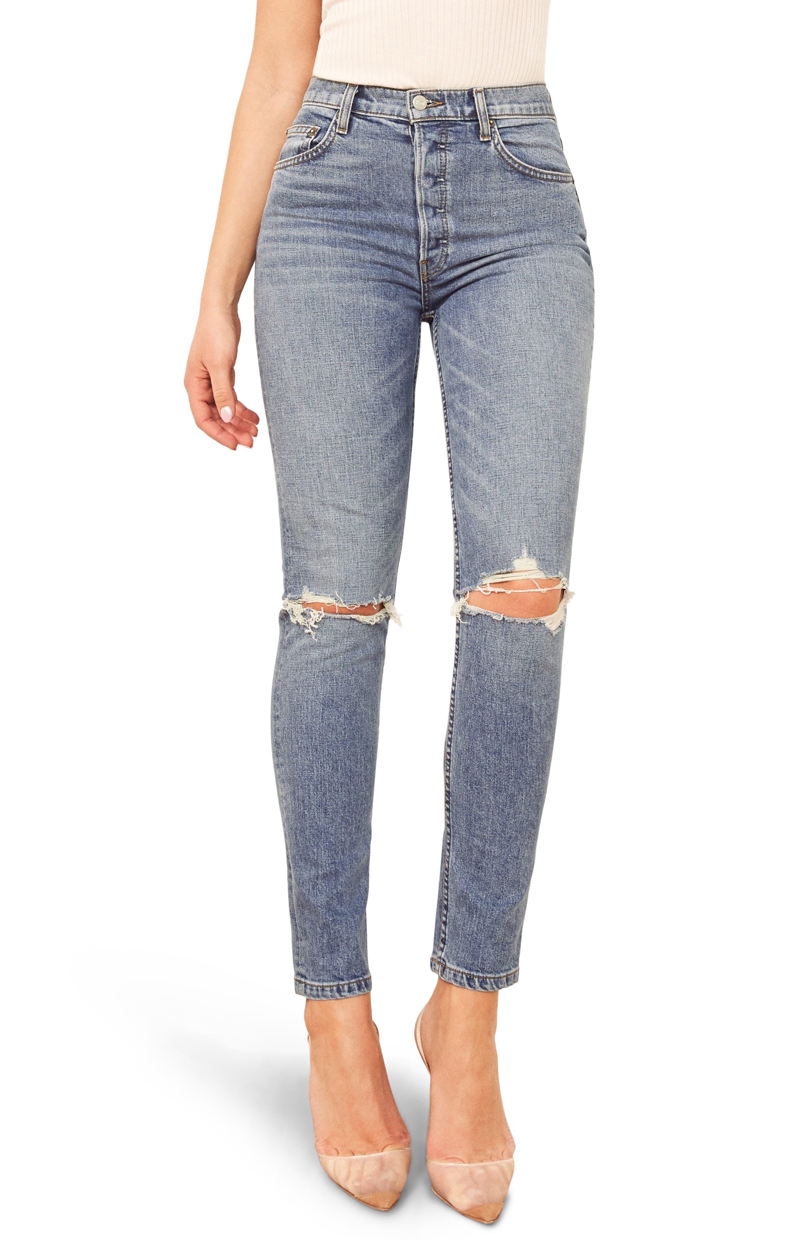 REFORMATION Serena High Waist Skinny Jeans, Main, color, MELBOURNE DESTROYED
