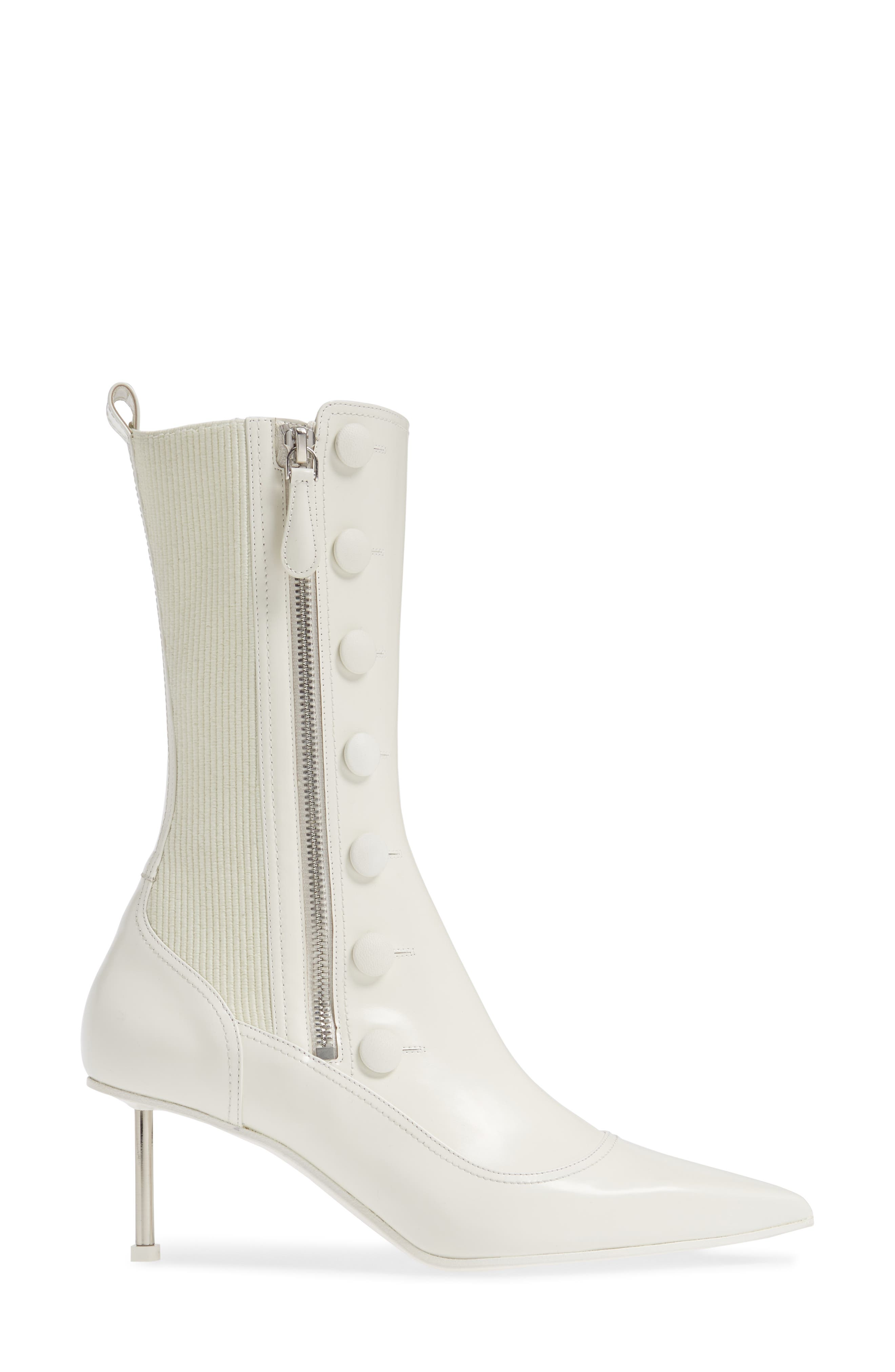 ALEXANDER MCQUEEN, Button Pointy Toe Boot, Alternate thumbnail 3, color, IVORY/ BLACK