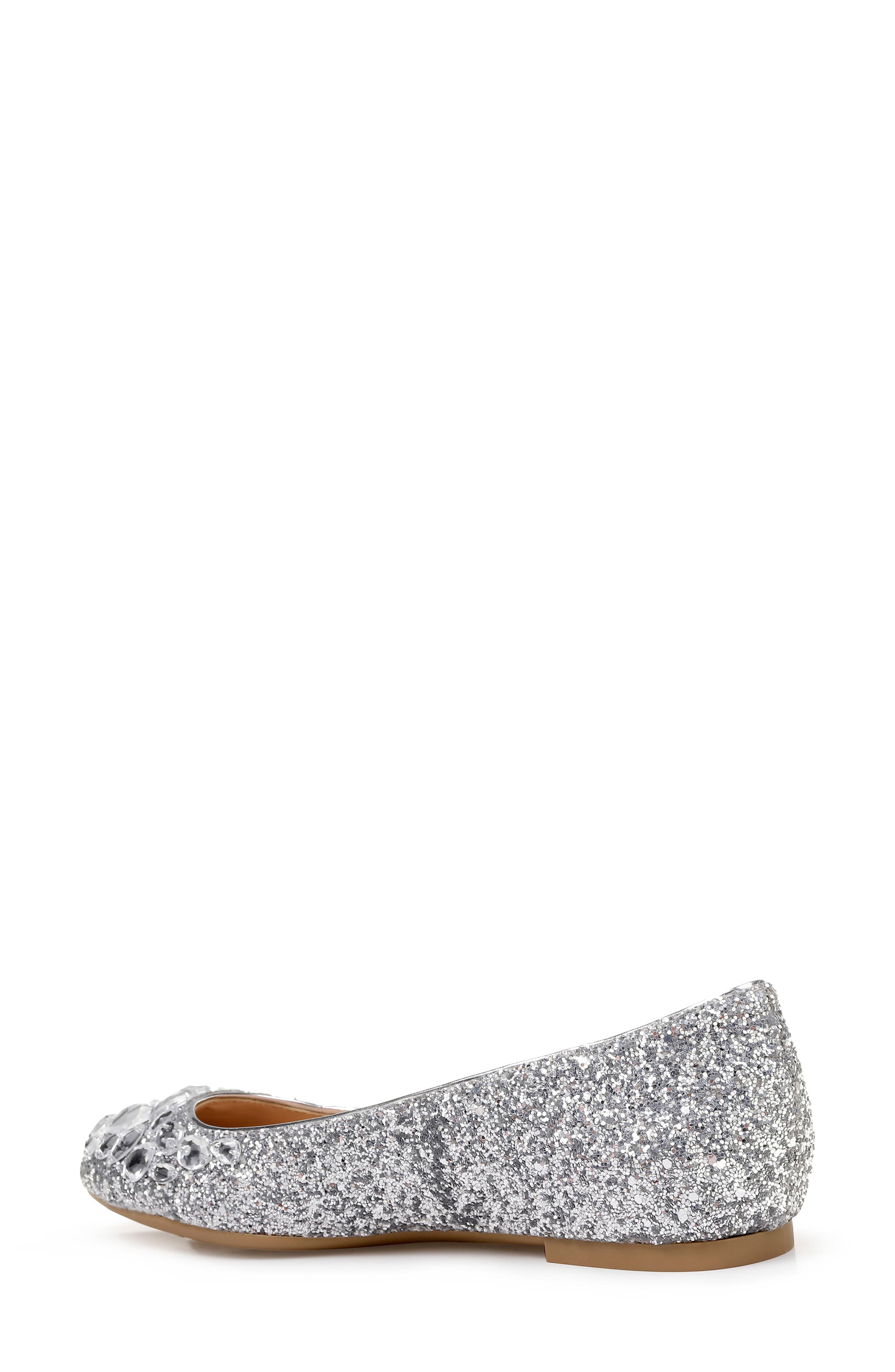 JEWEL BADGLEY MISCHKA, Mathilda Embellished Ballet Flat, Alternate thumbnail 2, color, SILVER GLITTER