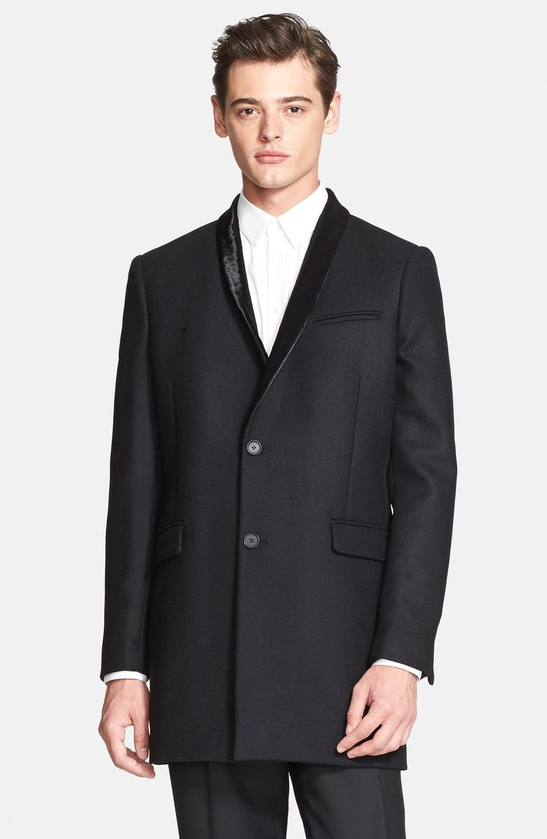8431181b92b THE KOOPLES Wool Blend Coat with Genuine Calf Hair Lapels, Main, color, 001