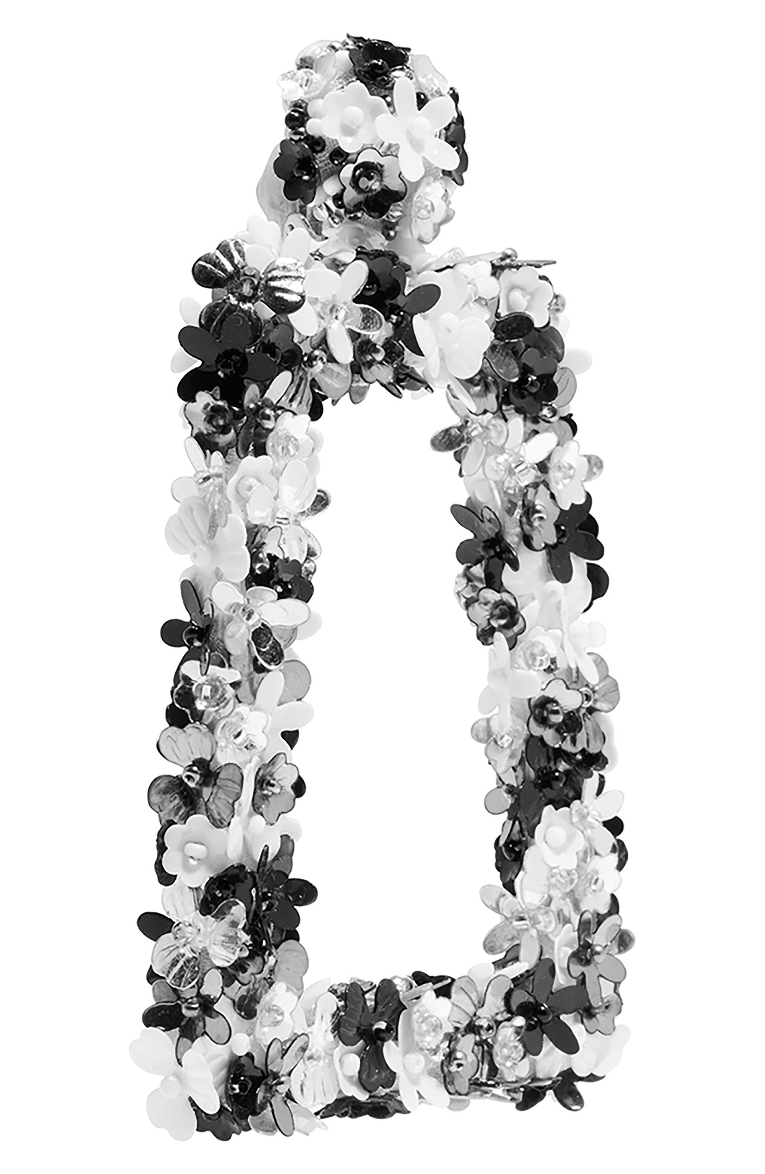 SACHIN & BABI, Noir Fleur Dusk Earrings, Alternate thumbnail 3, color, BLACK MULTI