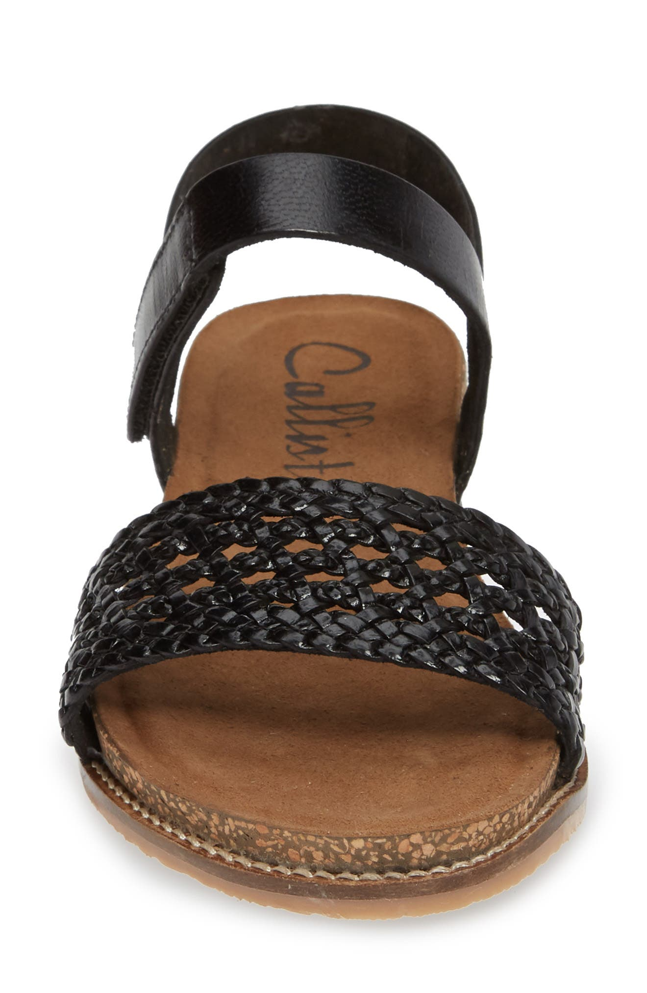 CALLISTO, Thor Woven Wedge Sandal, Alternate thumbnail 4, color, BLACK WOVEN LEATHER