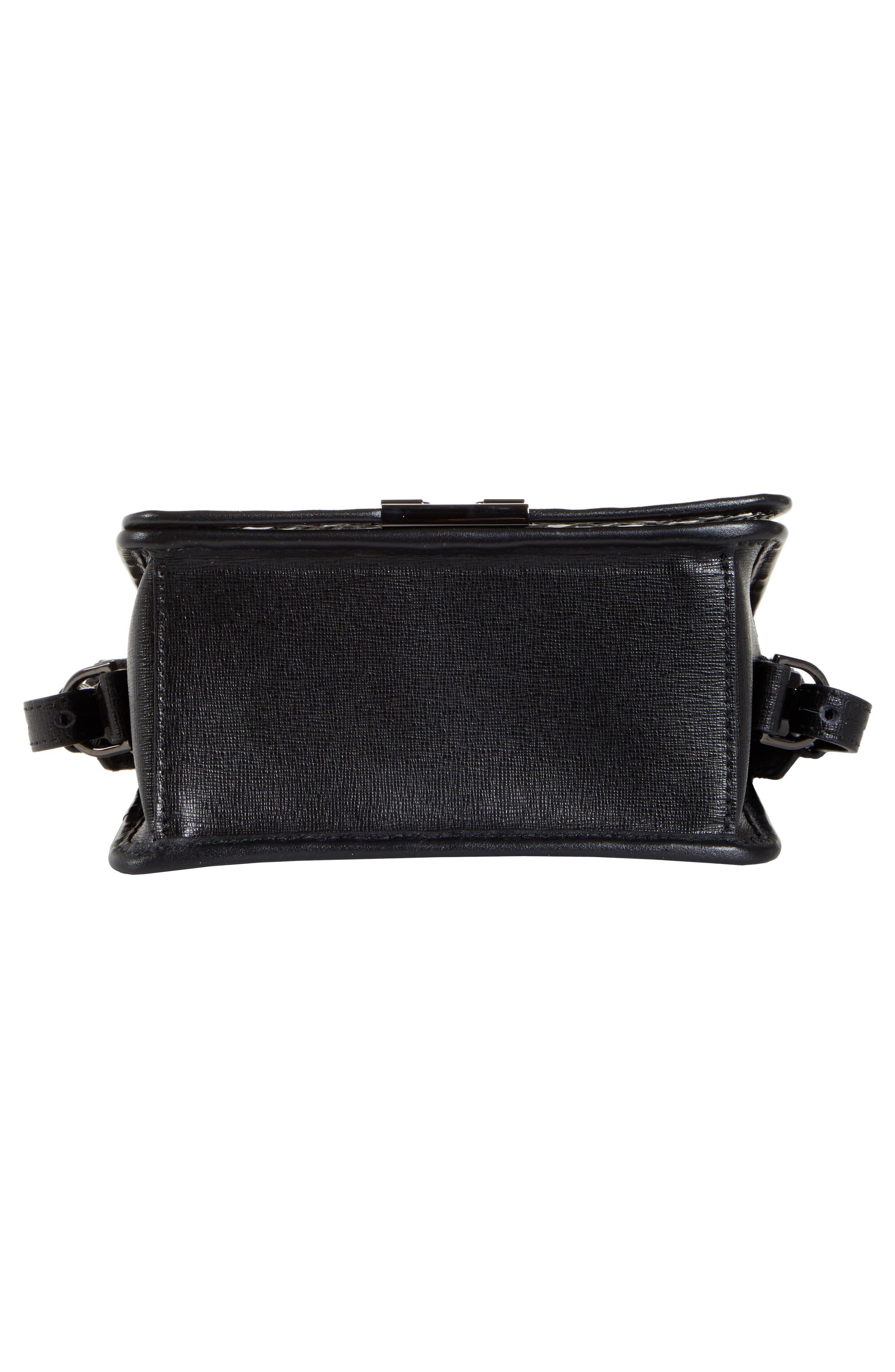 OFF-WHITE, Net PVC Flap Bag, Alternate thumbnail 7, color, BLACK