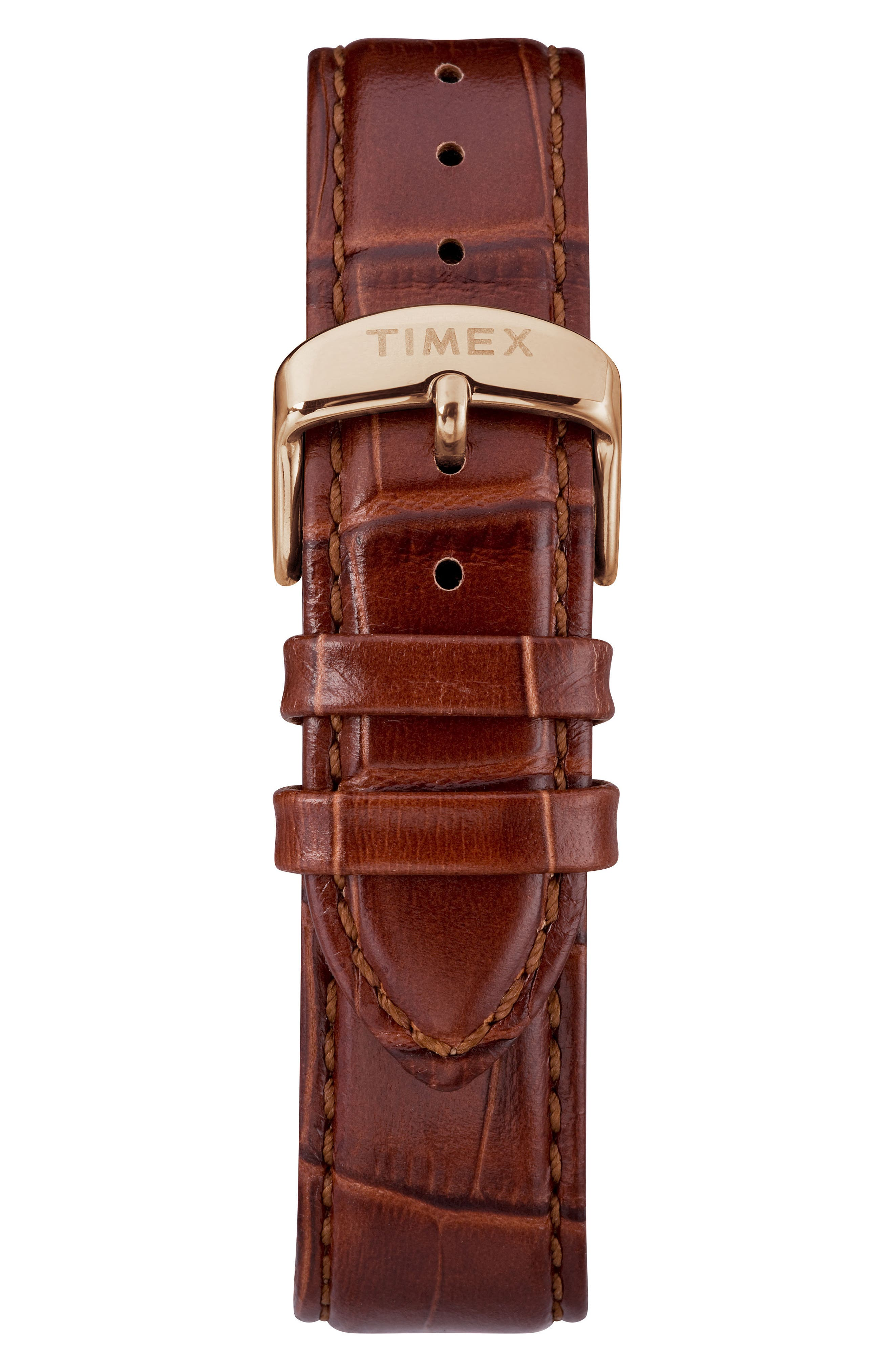 TIMEX<SUP>®</SUP>, Waterbury Leather Strap Watch, 36mm, Alternate thumbnail 2, color, BROWN/ WHITE/ ROSE GOLD