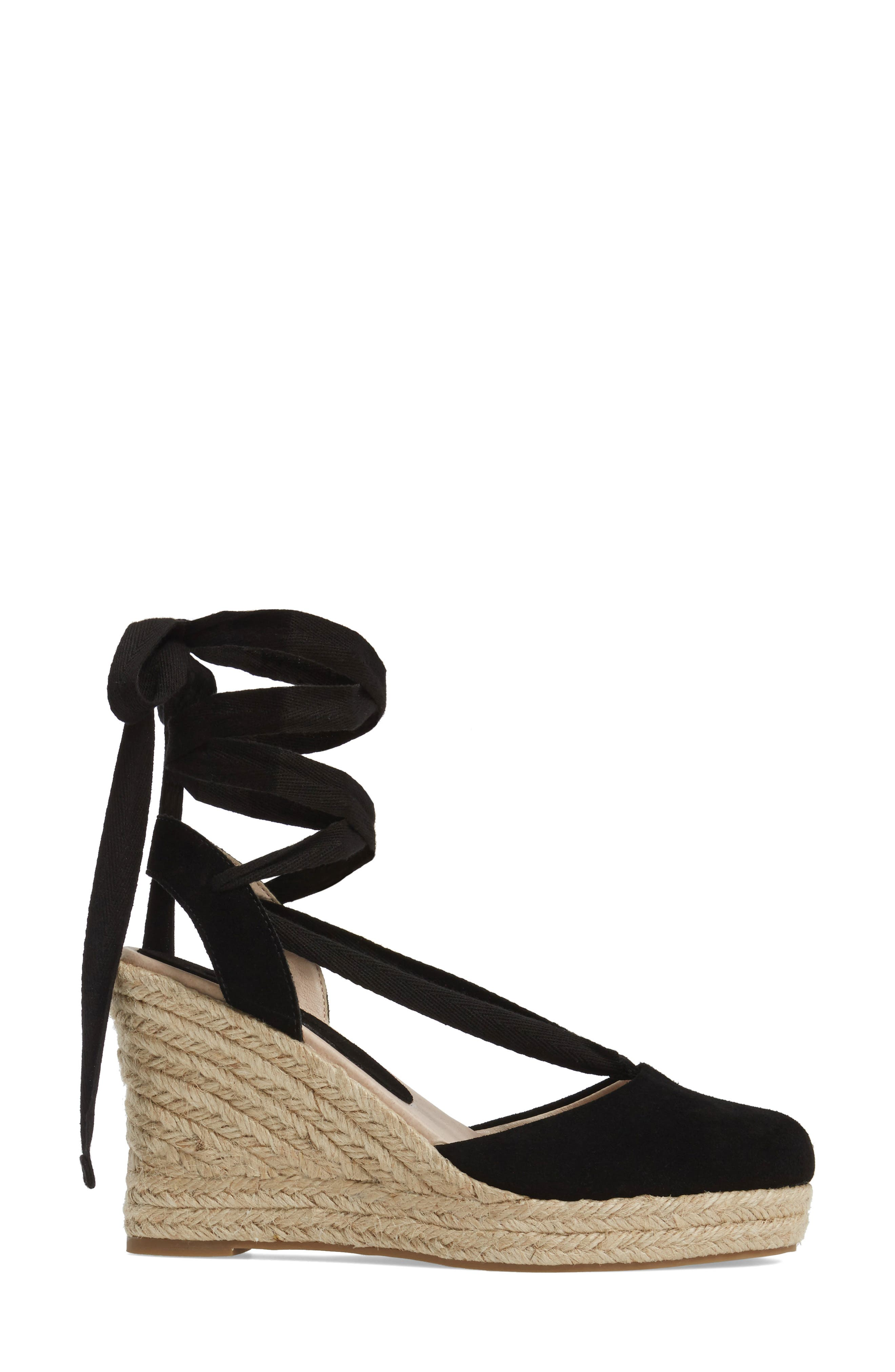 TOPSHOP, Waves Espadrille Wedge, Alternate thumbnail 3, color, 001