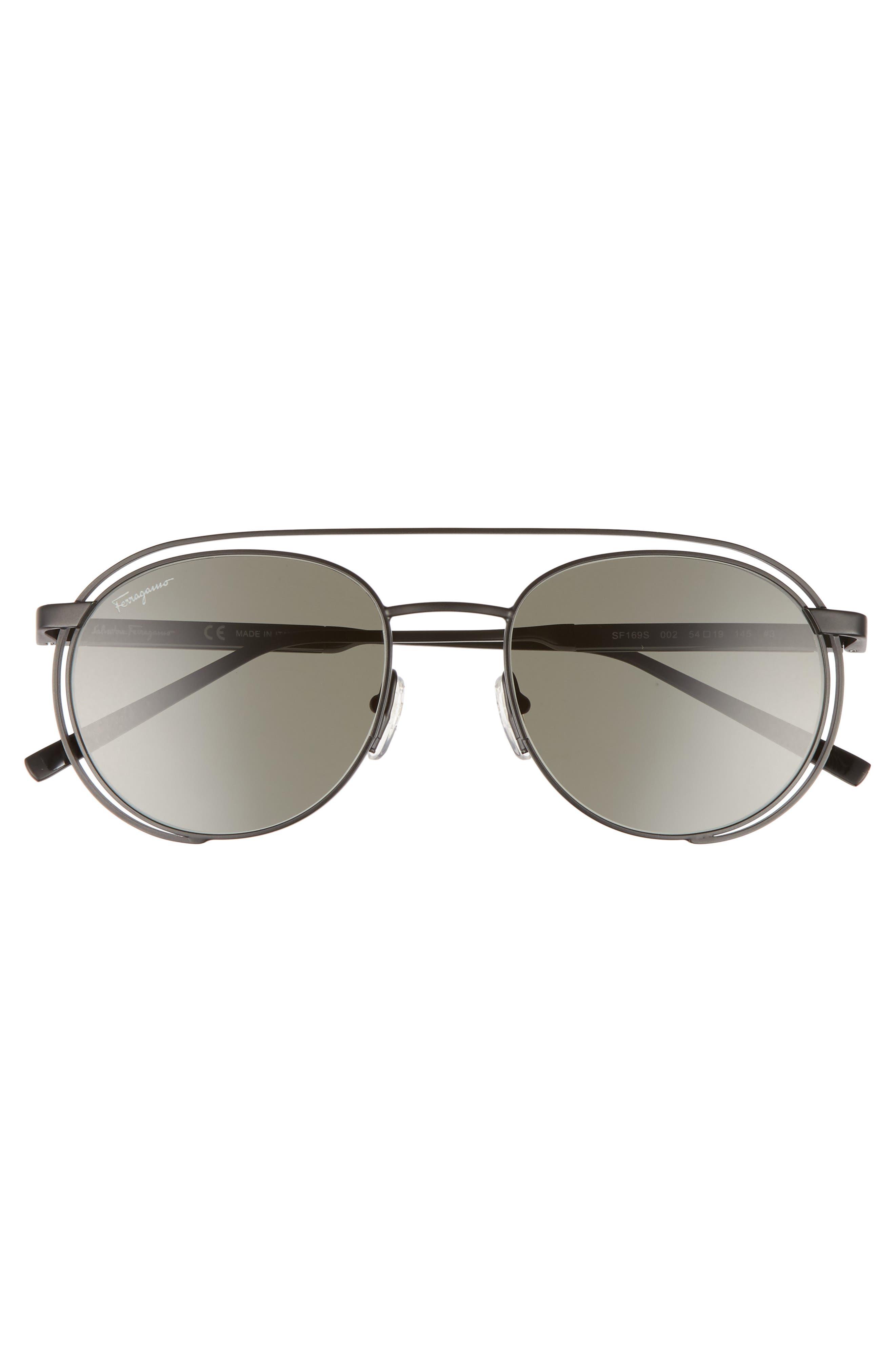 SALVATORE FERRAGAMO, 54mm Round Sunglasses, Alternate thumbnail 2, color, MATTE BLACK