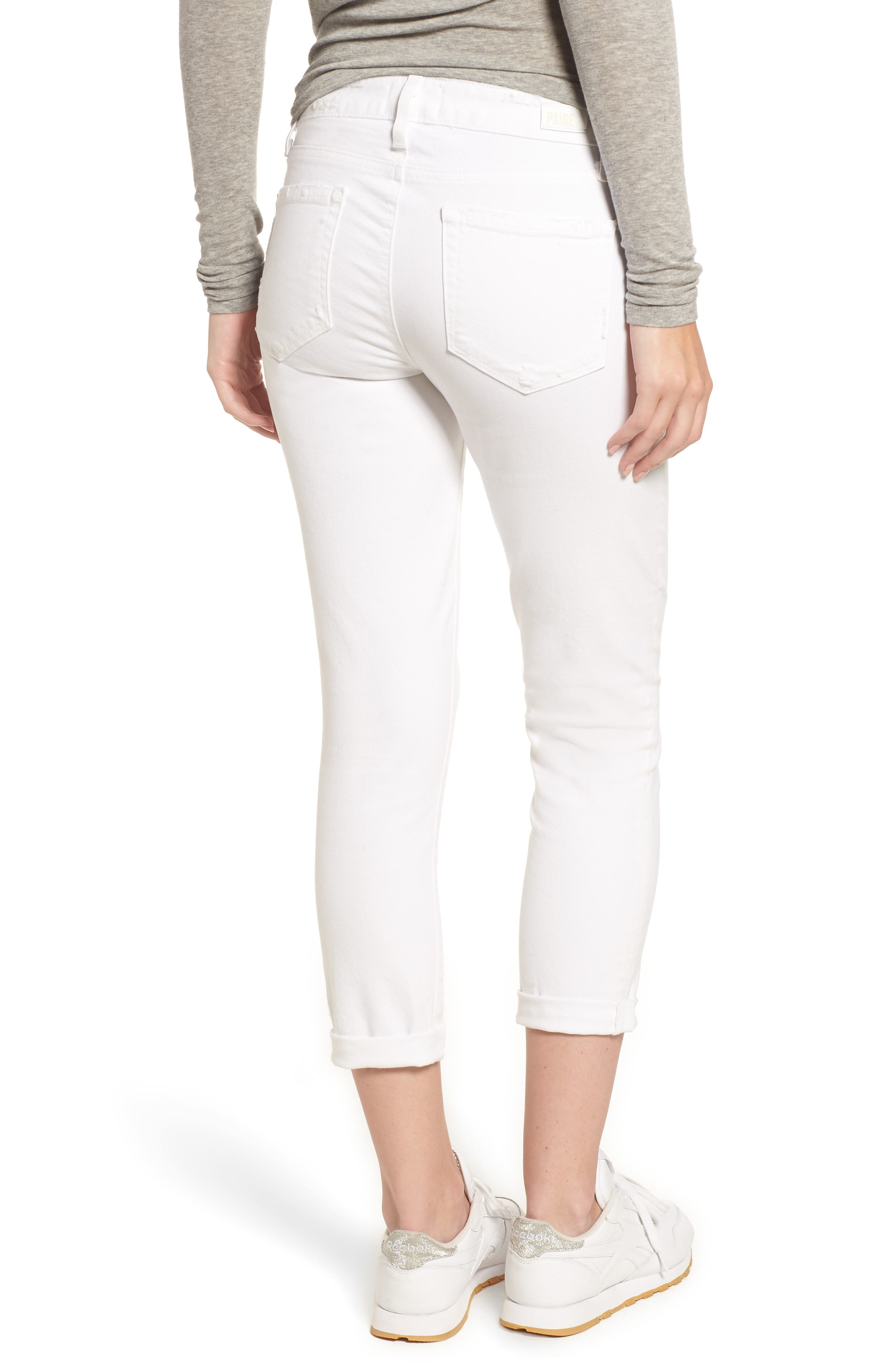 PAIGE, Skyline Raw Hem Crop Skinny Jeans, Alternate thumbnail 2, color, LIVED IN CRISP WHITE
