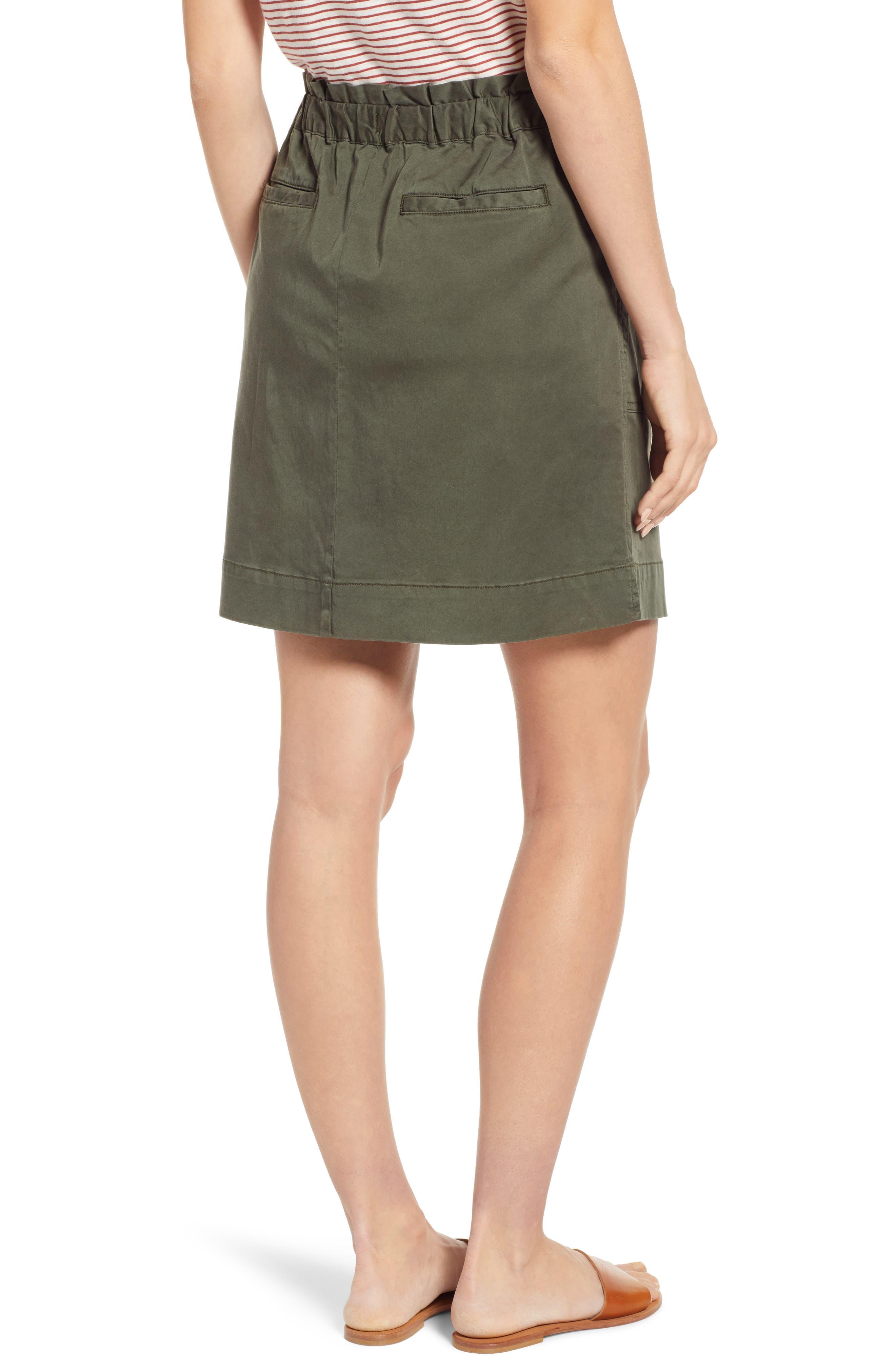 CASLON<SUP>®</SUP>, Paperbag Waist Skirt, Alternate thumbnail 2, color, GREEN BEETLE