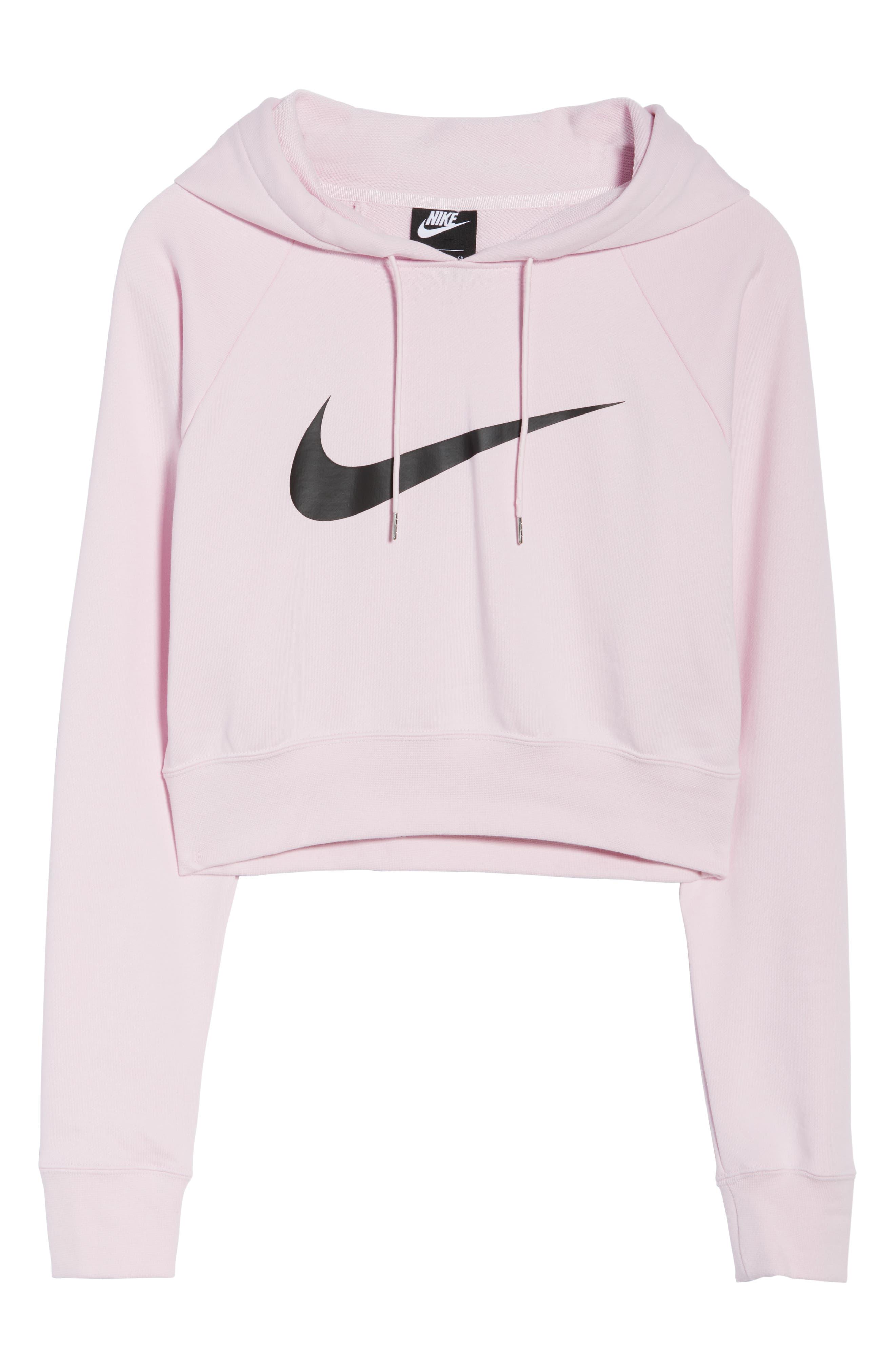 NIKE, Sportswear Women's Cropped Hoodie, Alternate thumbnail 7, color, PINK FOAM/ BLACK