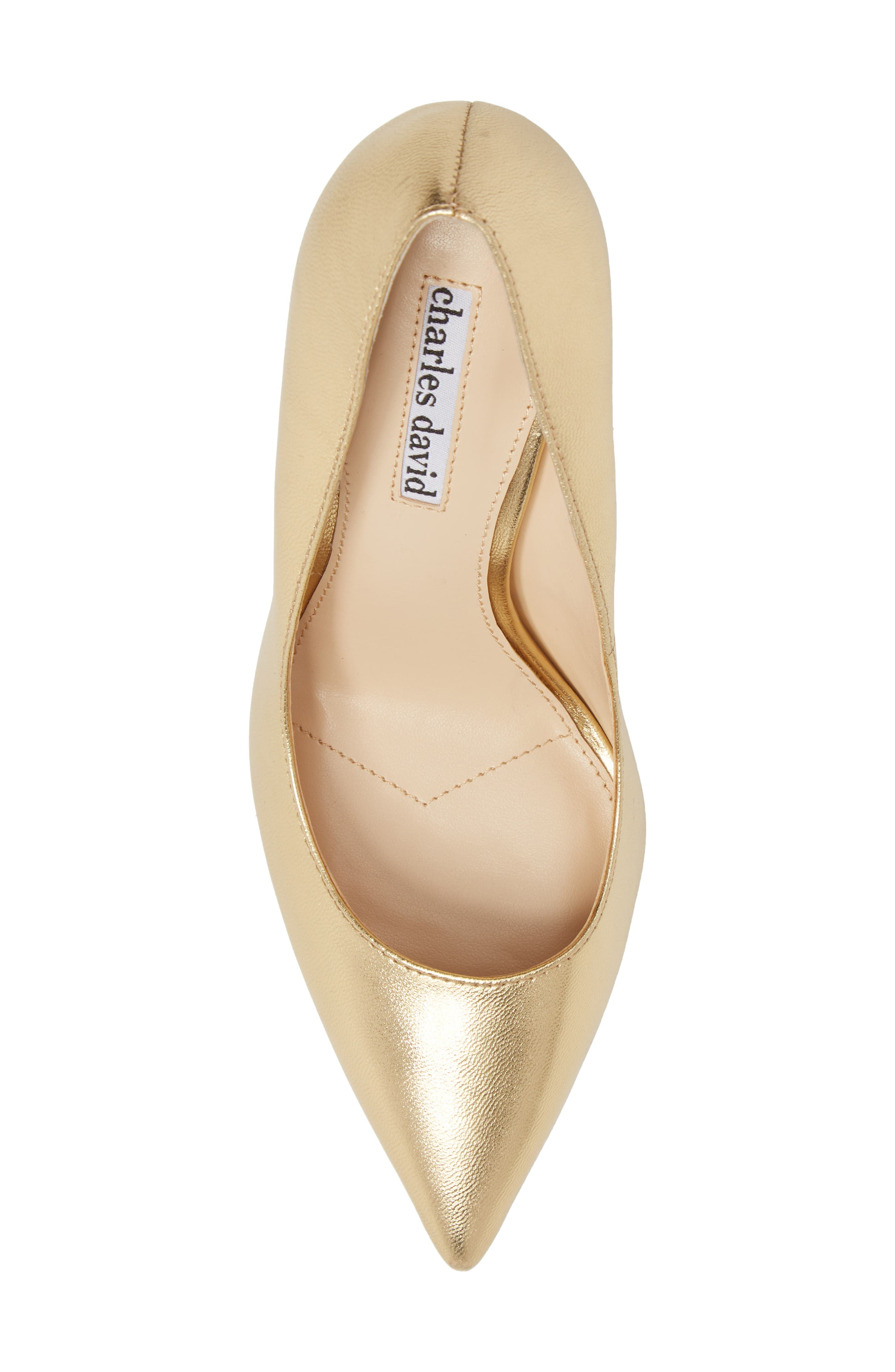 CHARLES DAVID, Calessi Pointy Toe Pump, Alternate thumbnail 5, color, GOLD LEATHER