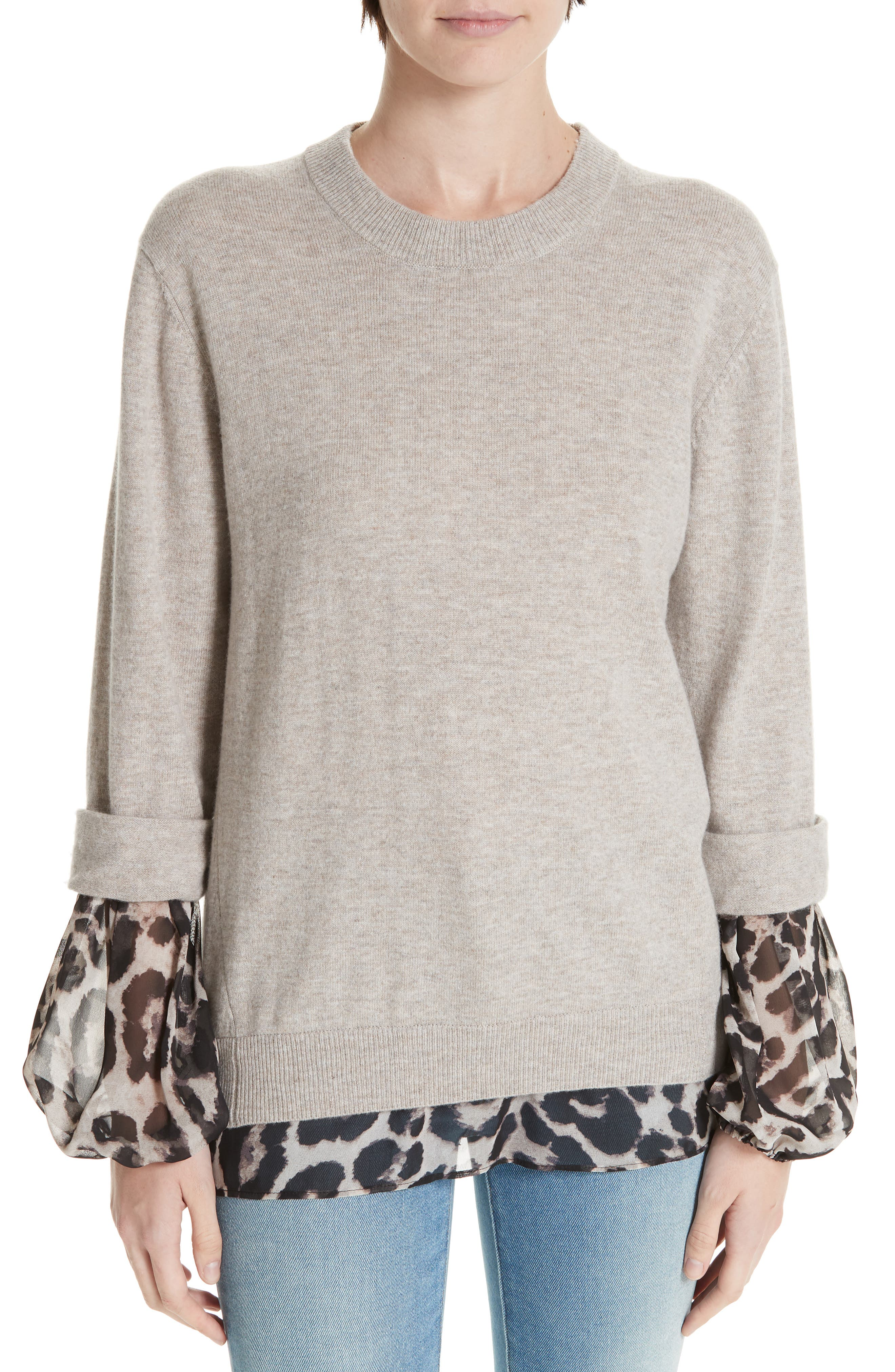 Brochu Walker Layered Animal Print Wool & Cashmere Sweater