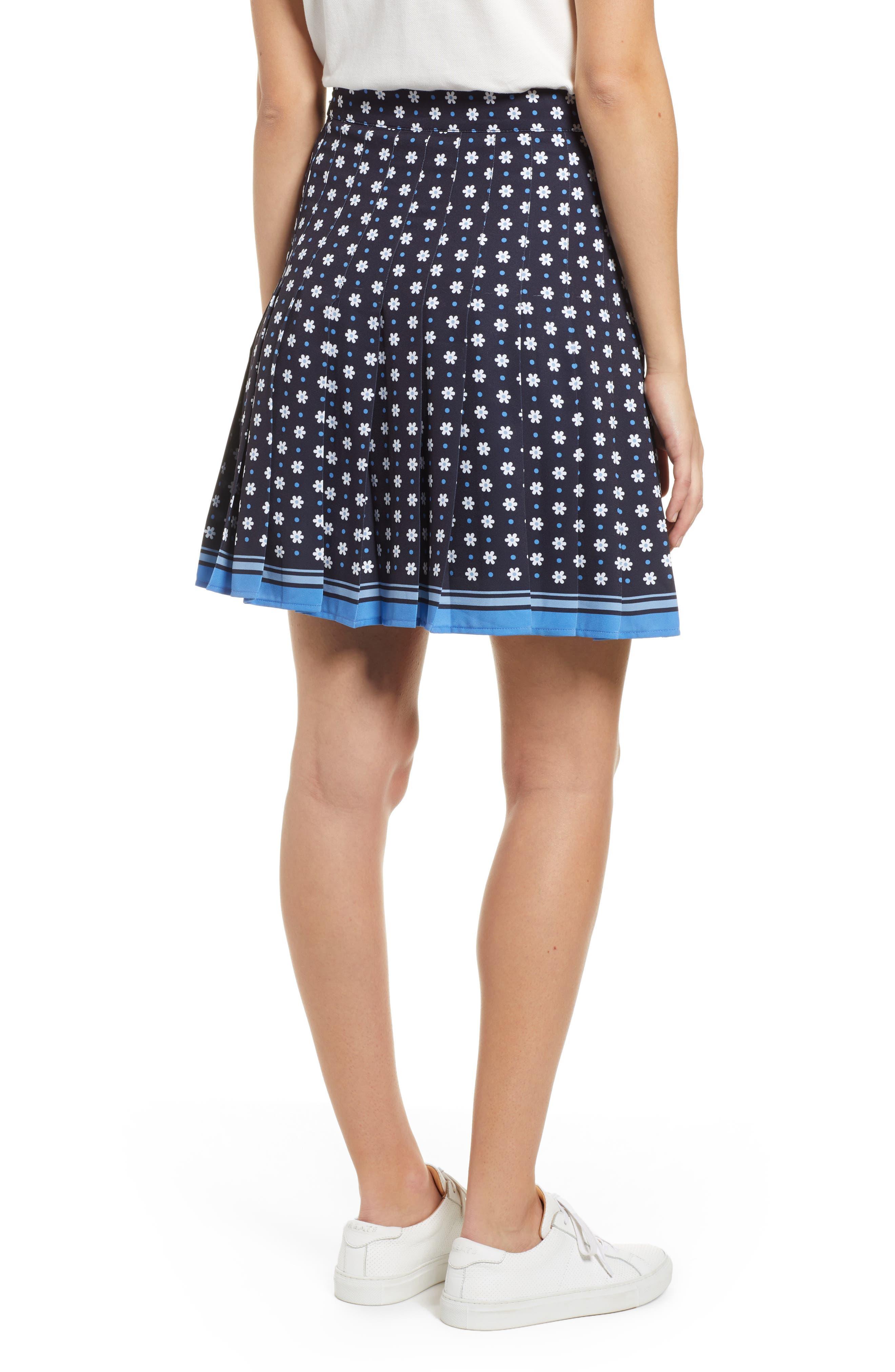 1901, Pleated Tennis Skirt, Alternate thumbnail 2, color, NAVY NIGHT DAISY DOT