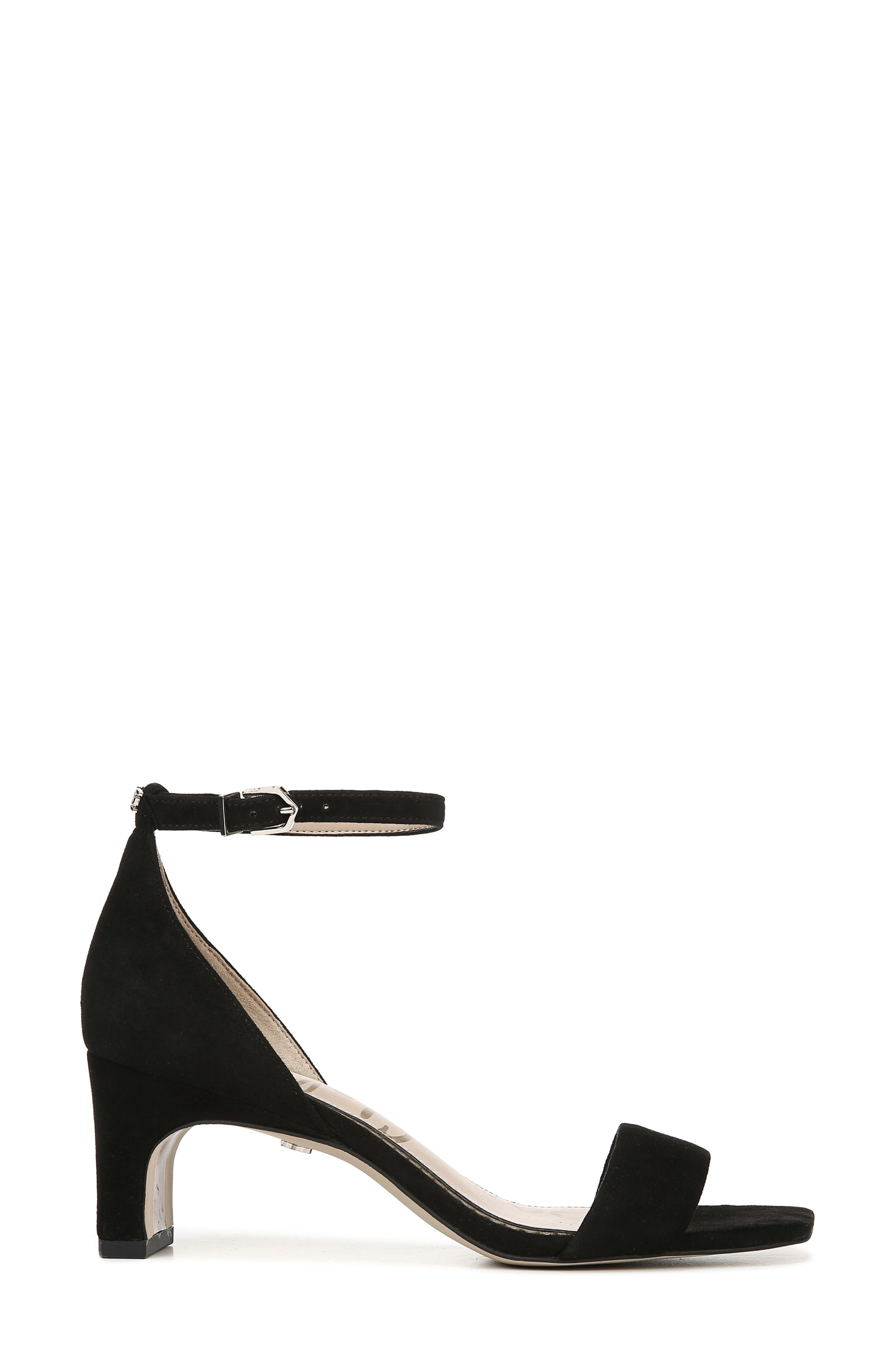 SAM EDELMAN, Holmes Ankle Strap Sandal, Alternate thumbnail 3, color, BLACK SUEDE LEATHER