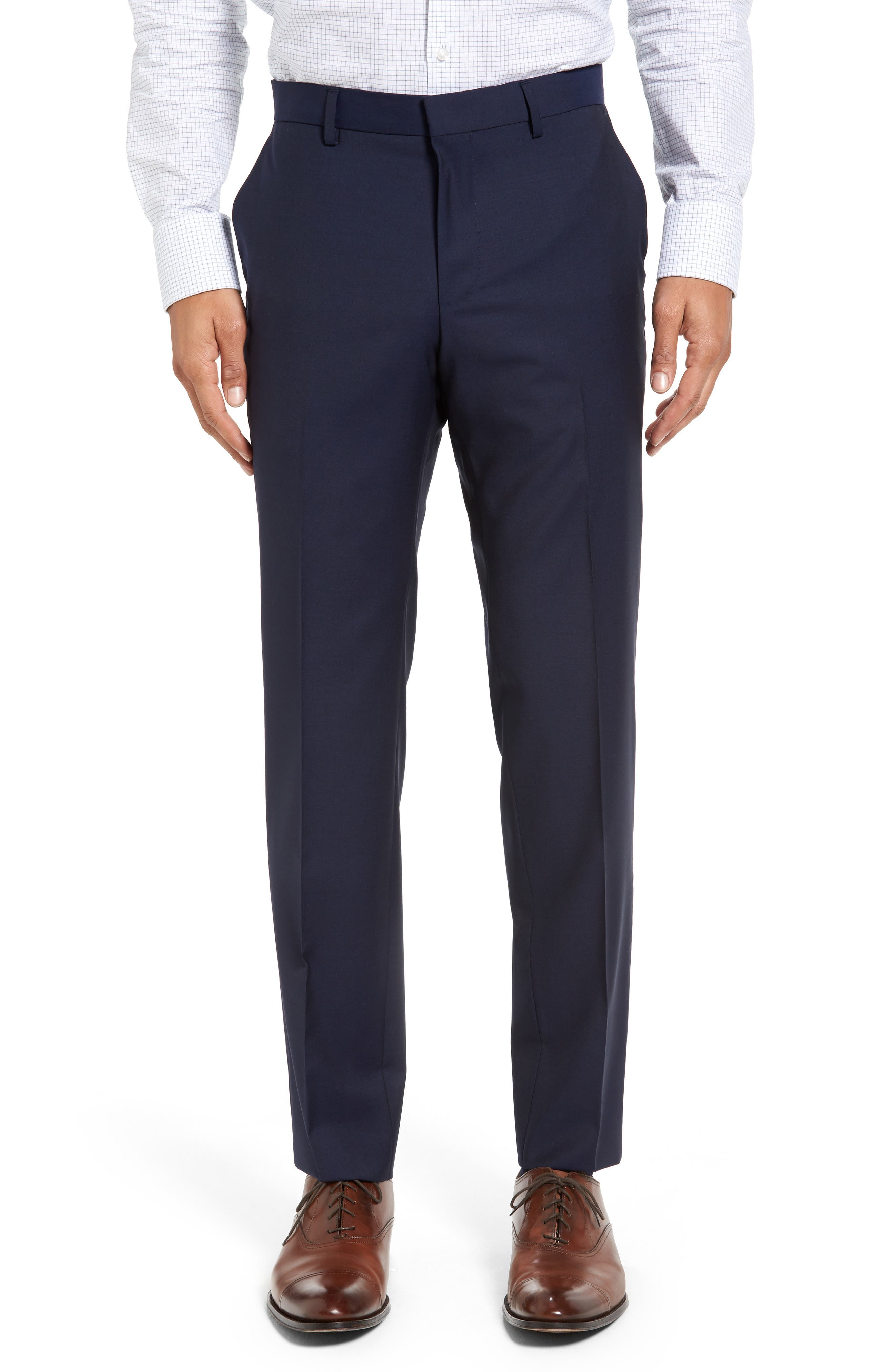 BOSS, Huge/Genius Trim Fit Navy Wool Suit, Alternate thumbnail 6, color, 410