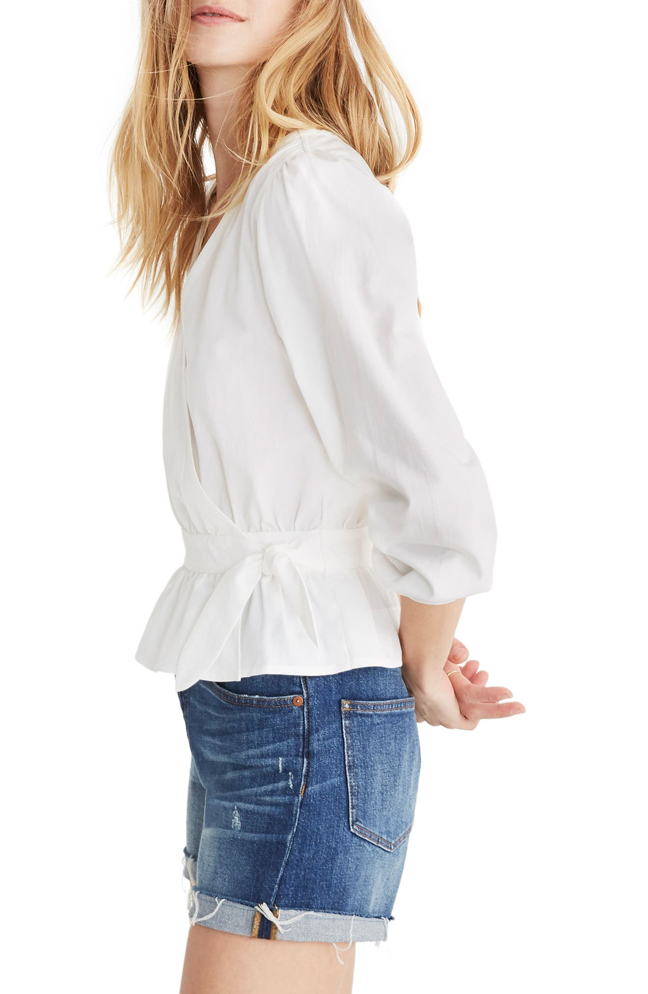 MADEWELL, Puff Sleeve Peplum Wrap Top, Alternate thumbnail 3, color, PURE WHITE